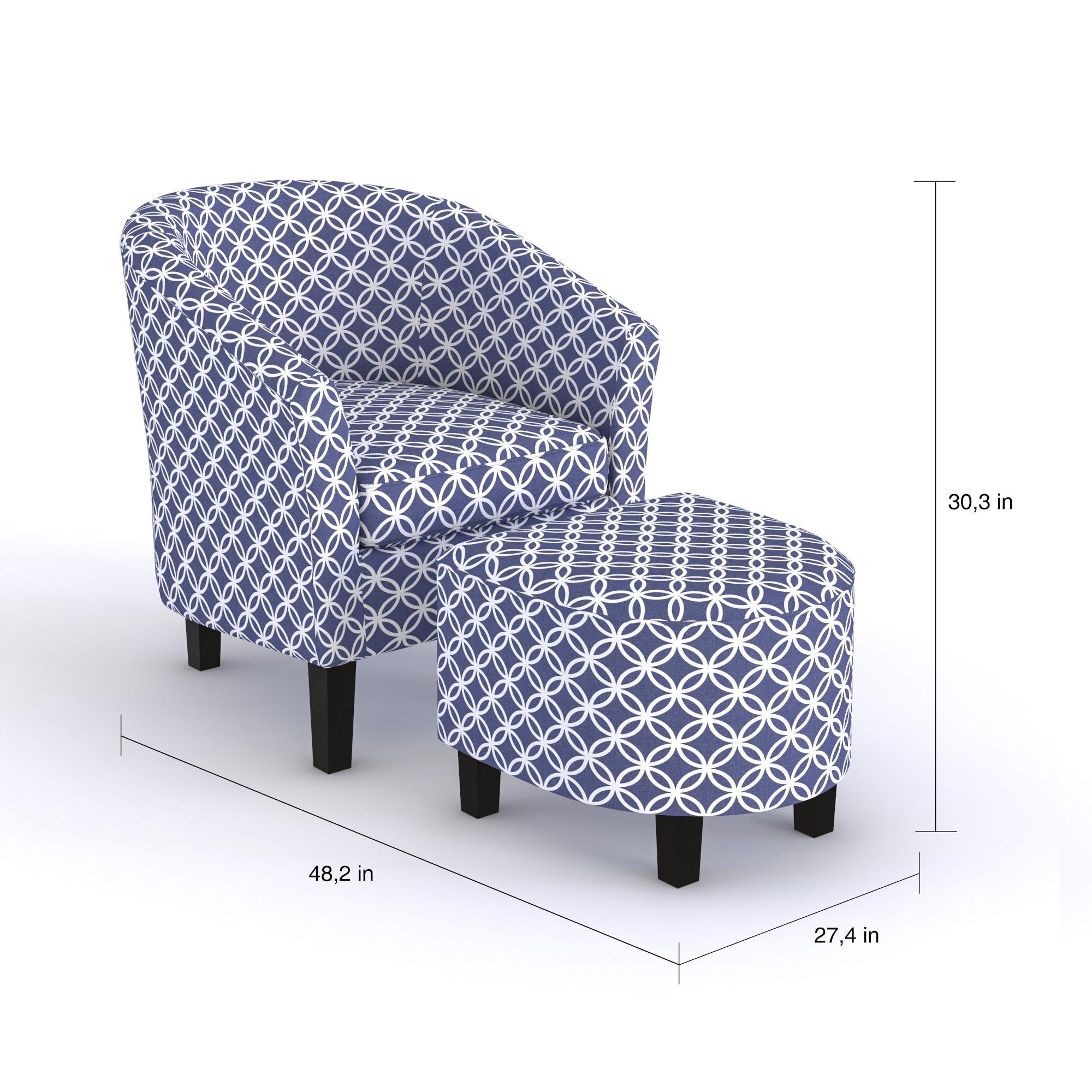 Shop Porch Den Brust Dark Blue Club Chair And Ottoman On Sale