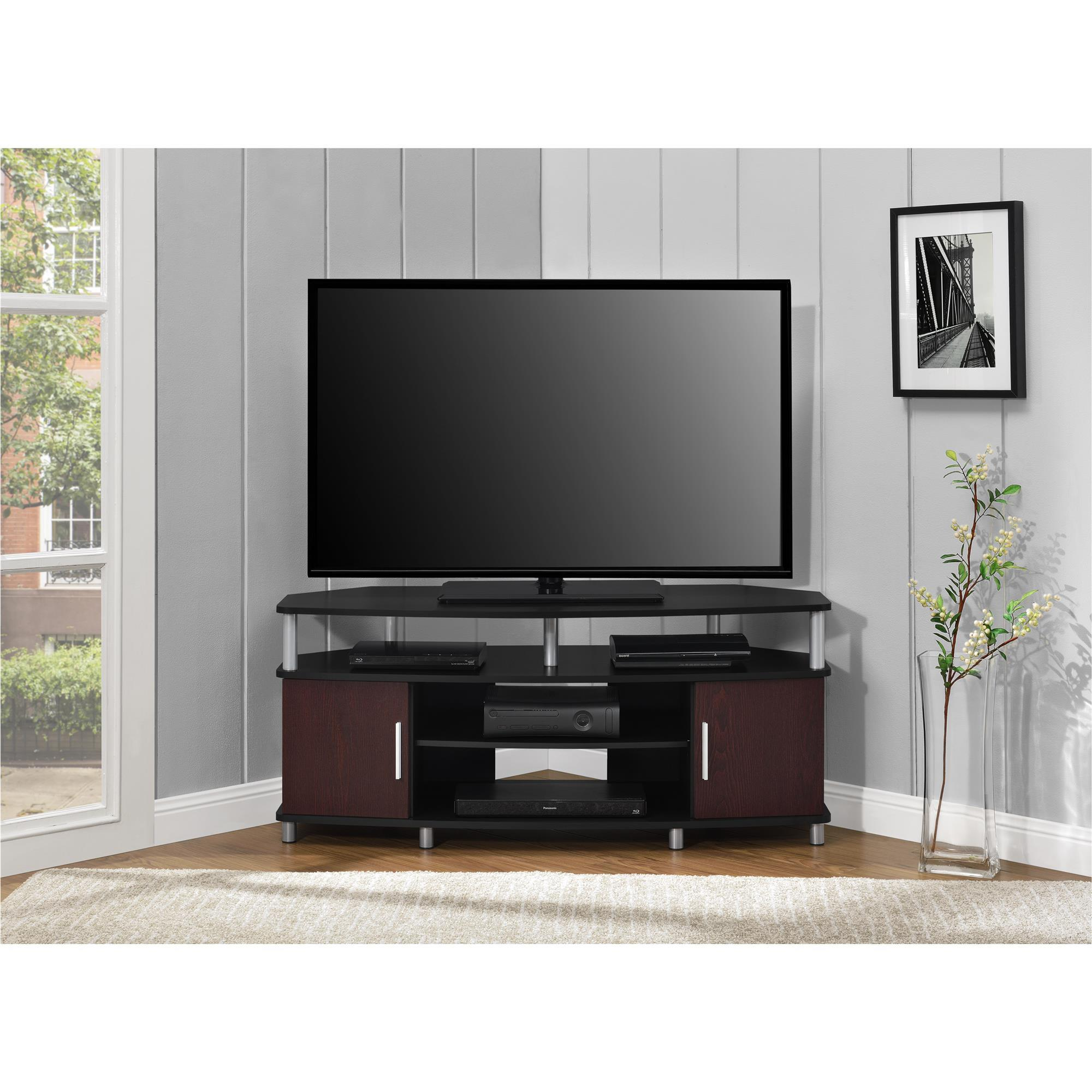 Shop Porch Den Hoyne 50 Inch Black Cherry Corner Tv Stand Free