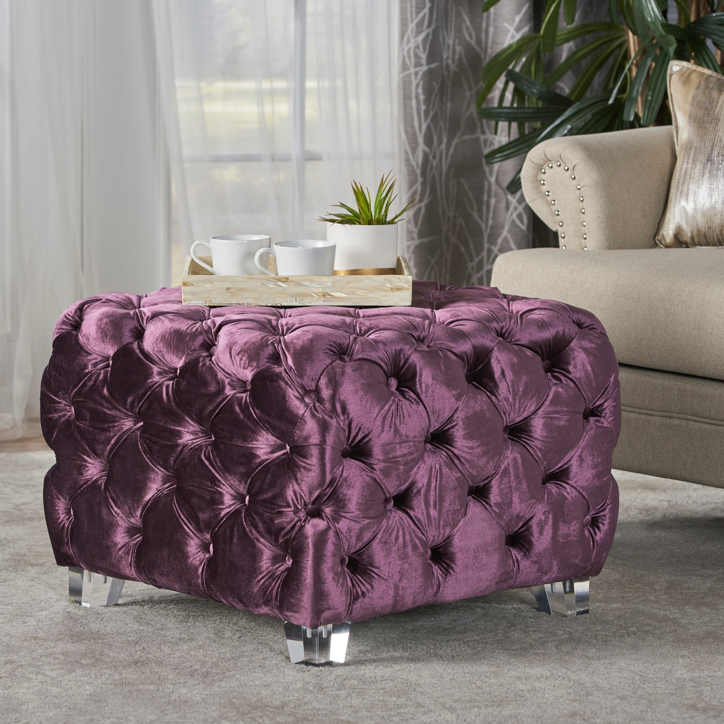 Shop Laszlo Tufted Velvet Square Ottoman Stool By Christopher Knight Home    On Sale   Free Shipping Today   Overstock.com   17801710