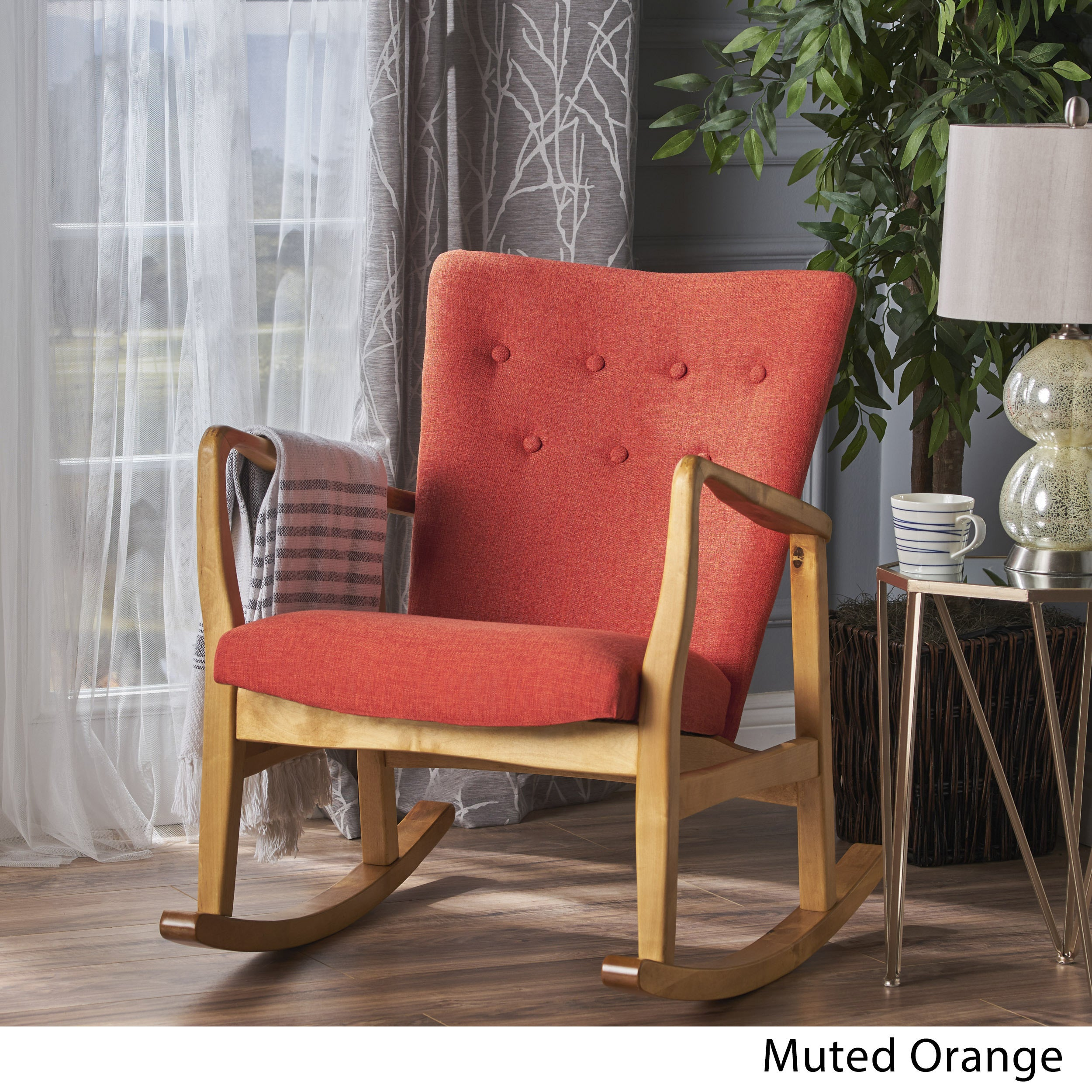 Shop Callum Mid Century Fabric Rocking Chair By Christopher Knight Home    On Sale   Free Shipping Today   Overstock.com   17801777