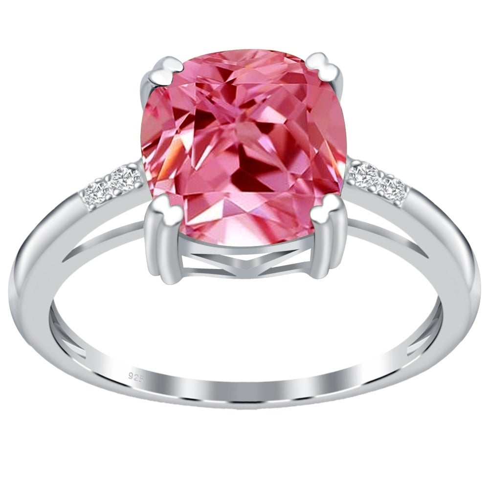 Orchid Jewelry Sterling Silver Cushion-cut Gemstone Solitaire ...