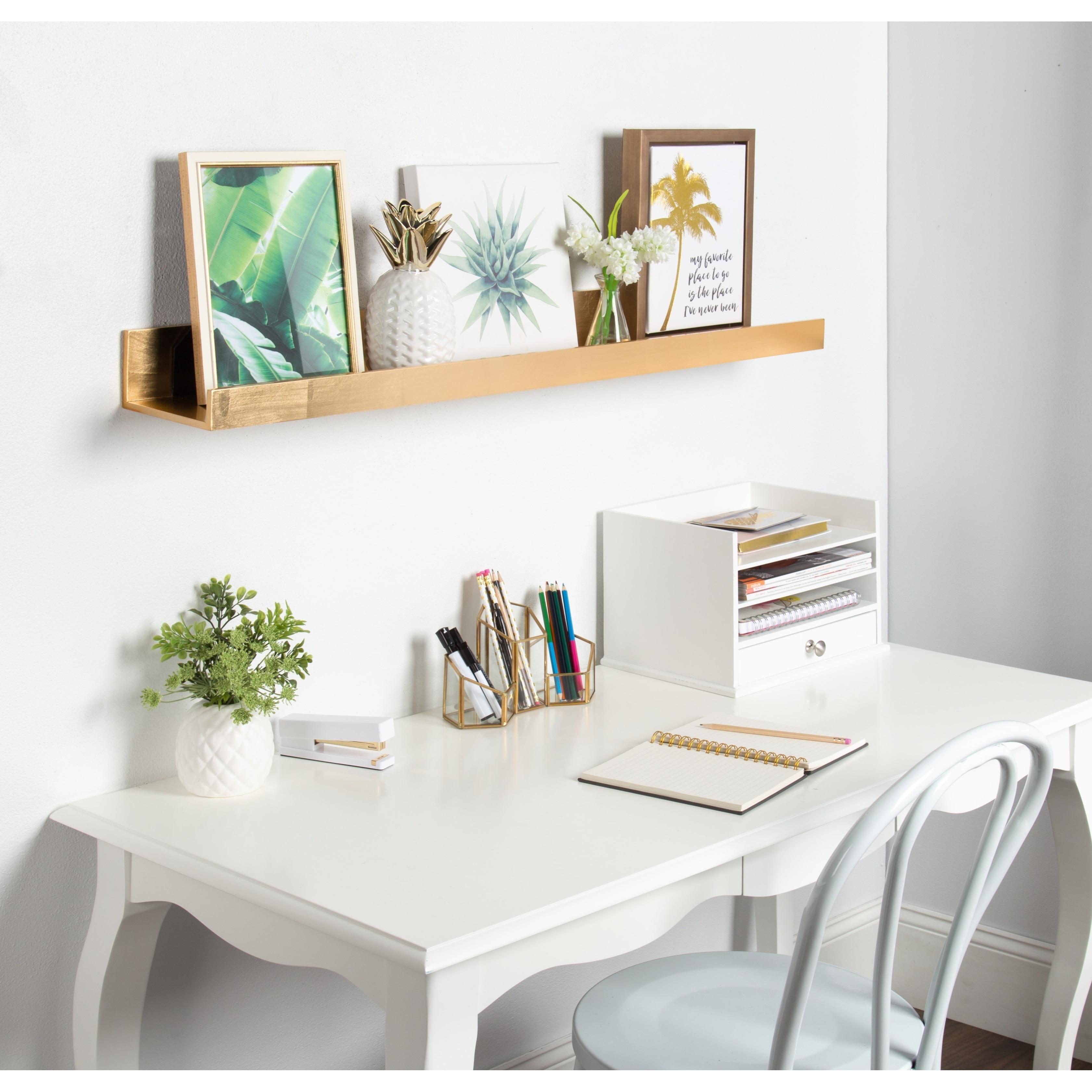 Finest Kate and Laurel Levie Deep Wood Wall Shelf Picture Frame Ledge  RC56