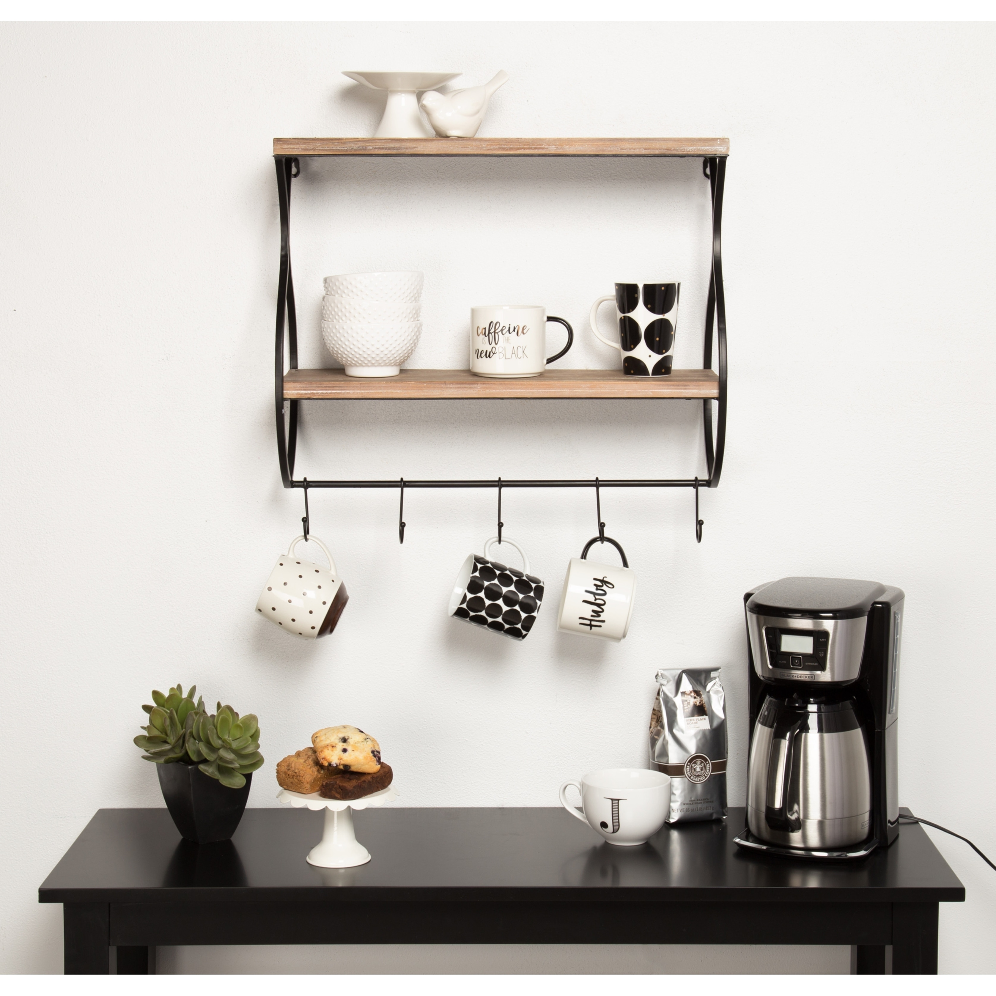 Kate And Laurel Spurling Wood And Metal Floating Wall Shelf