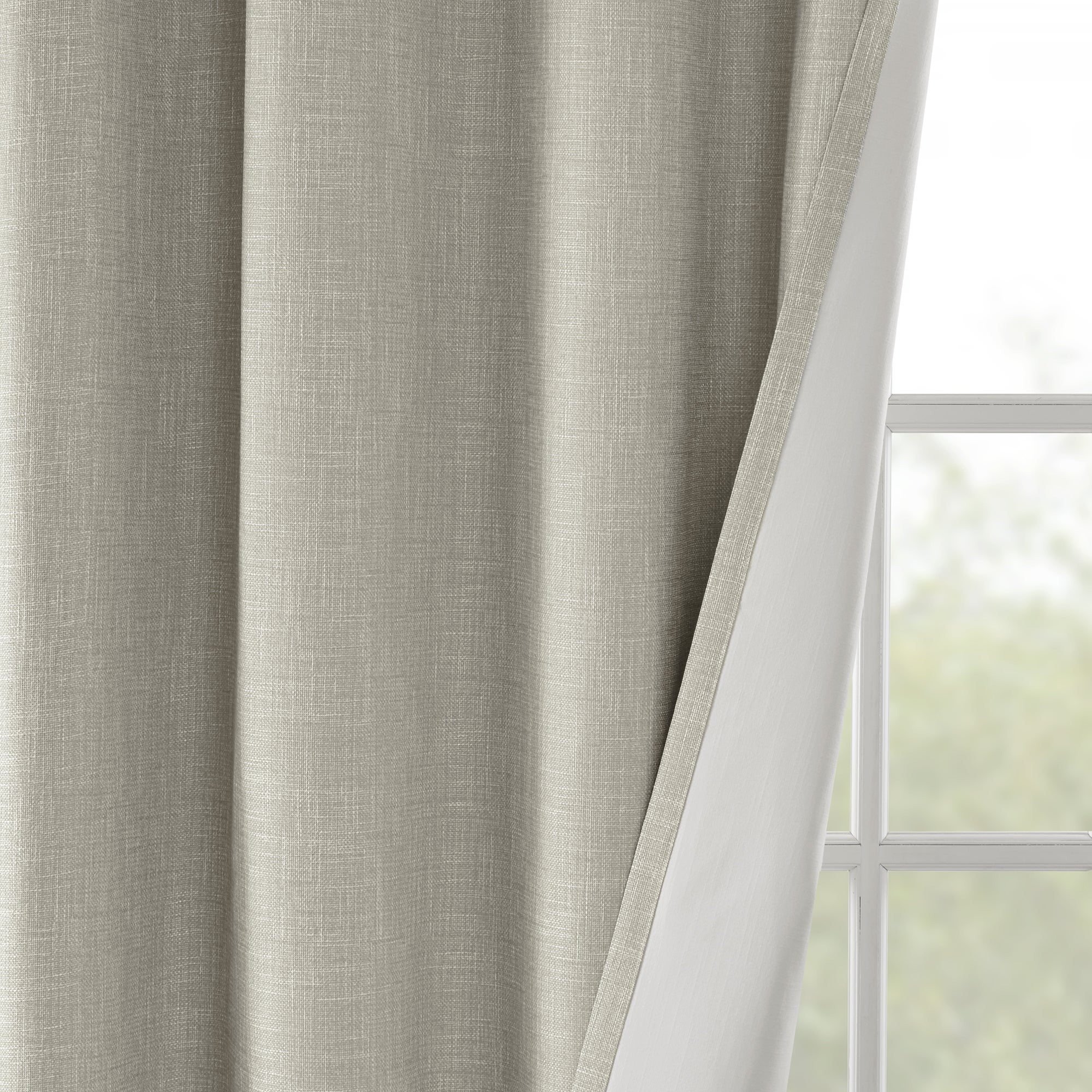 back linen pair wood tab grey product curtains insulated thermal look blackout