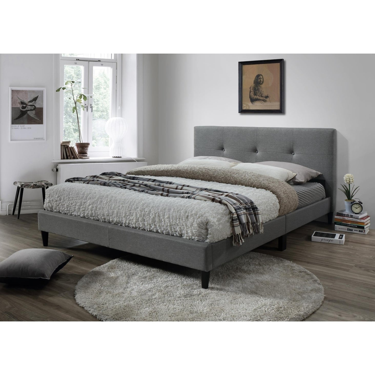 Shop lyke home jackson tufted gray platform bed free shipping today overstock com 17803812