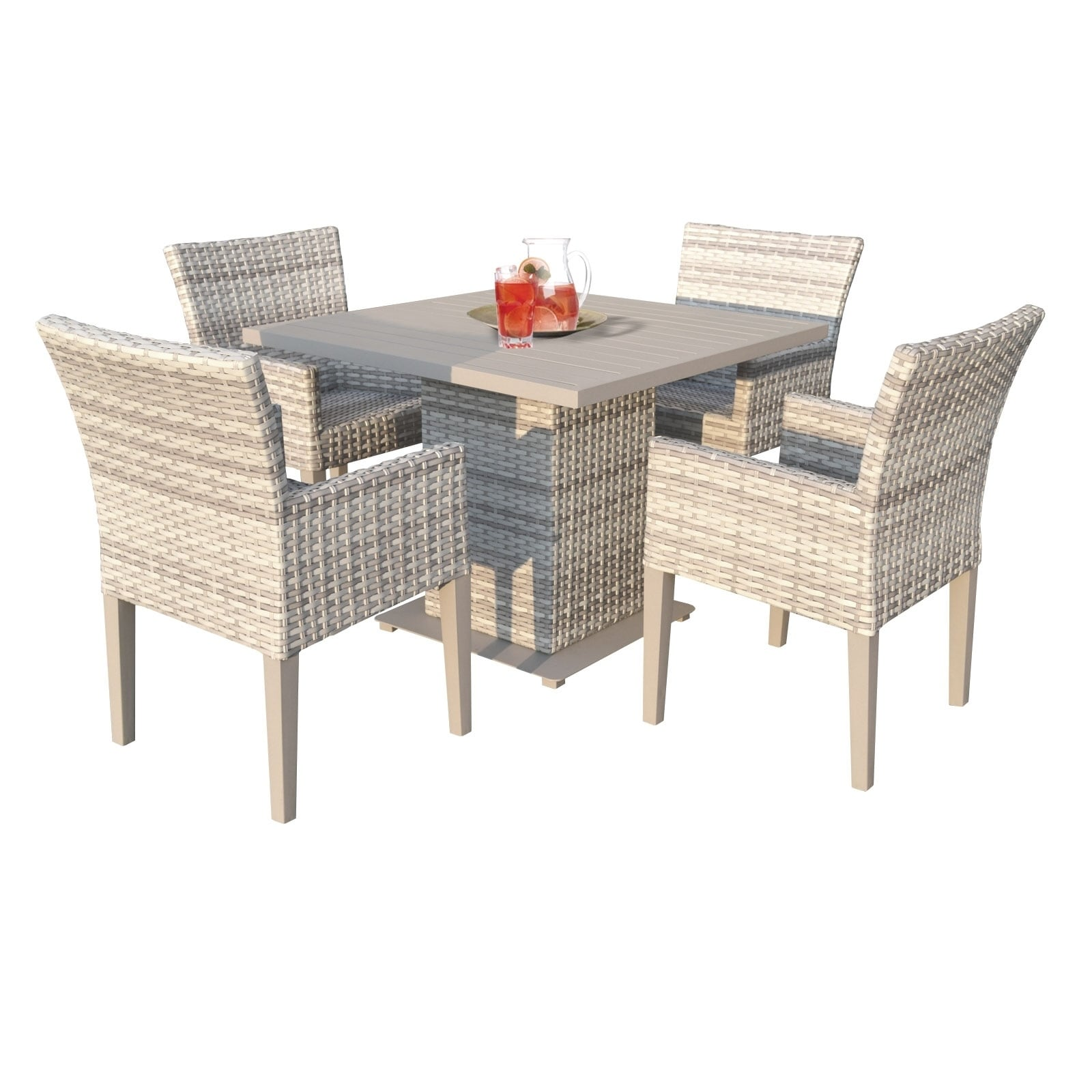 Shop Catamaran Outdoor Patio Square Wicker Dining Table With 4 Arm Chairs
