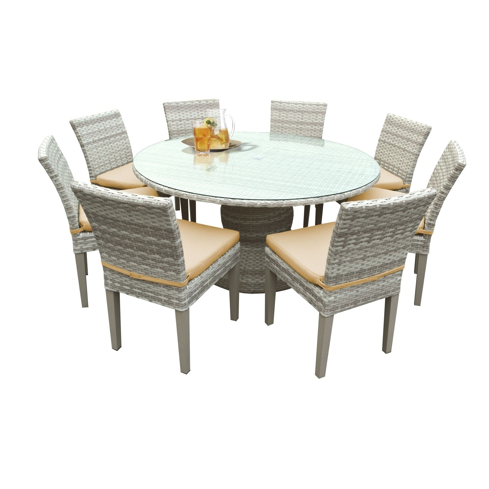 Shop catamaran outdoor patio round wicker dining table and 8 side chairs with seat cushions free shipping today overstock 17803857
