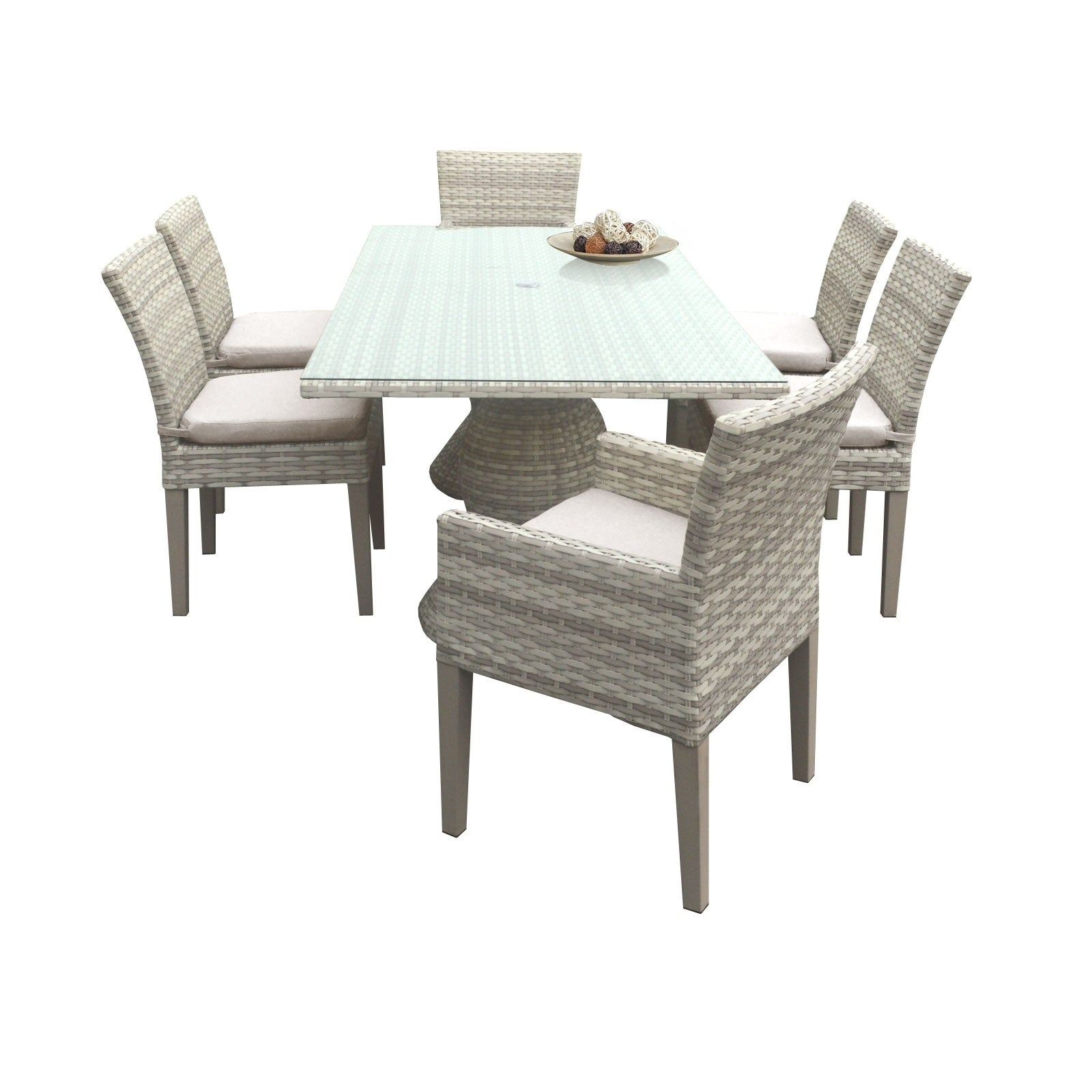 Catamaran Outdoor Patio Rectangular Wicker Dining Table With 4 Side Chairs And 2 Arm
