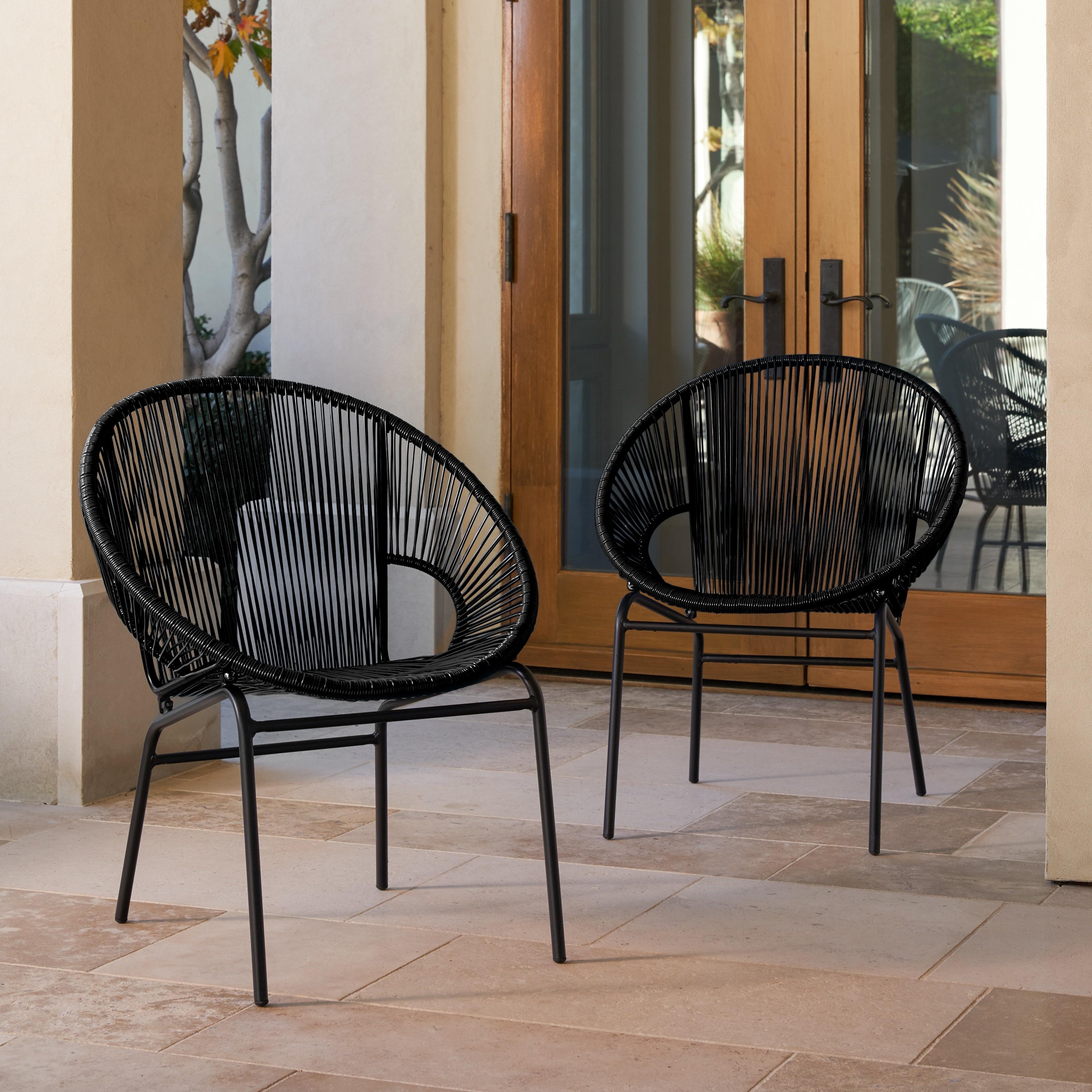Shop Corvus Sarcelles Woven Wicker Patio Chairs Set Of 2 On Sale