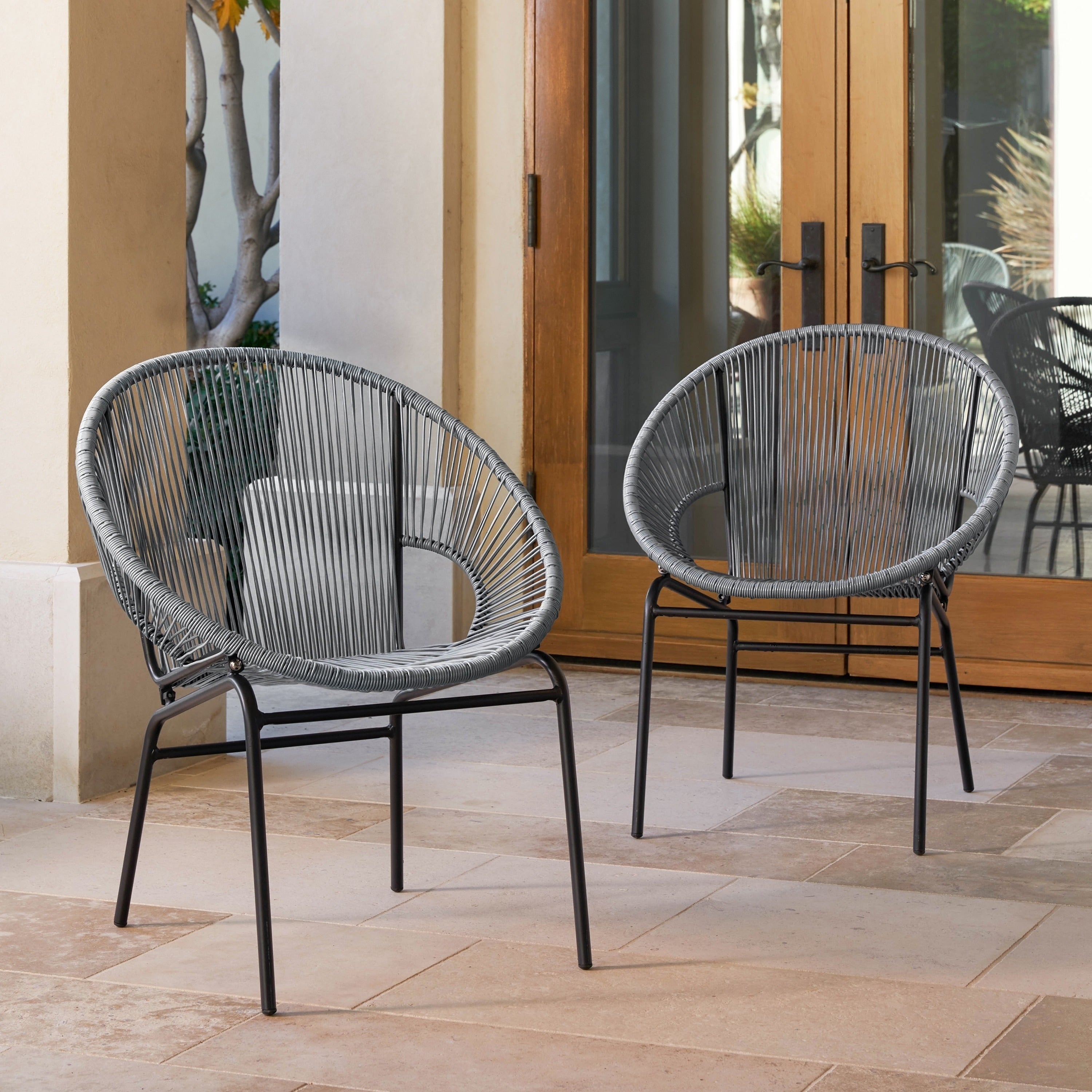 woven metal furniture. Shop Sarcelles Woven Wicker Patio Chairs By Corvus (Set Of 2) - Free Shipping Today Overstock.com 17805619 Metal Furniture