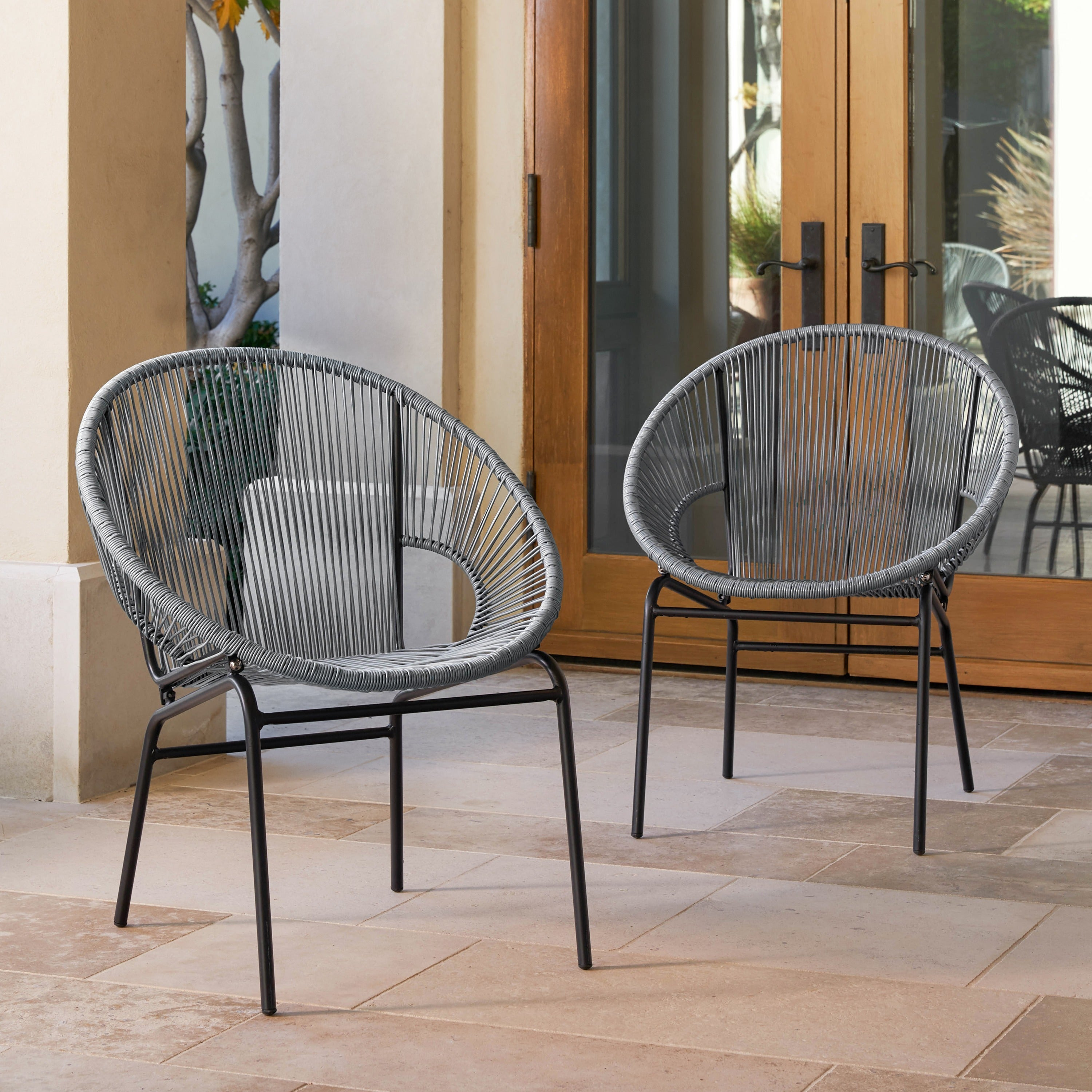 Sarcelles Woven Wicker Patio Chairs by Corvus Set of 2 Free