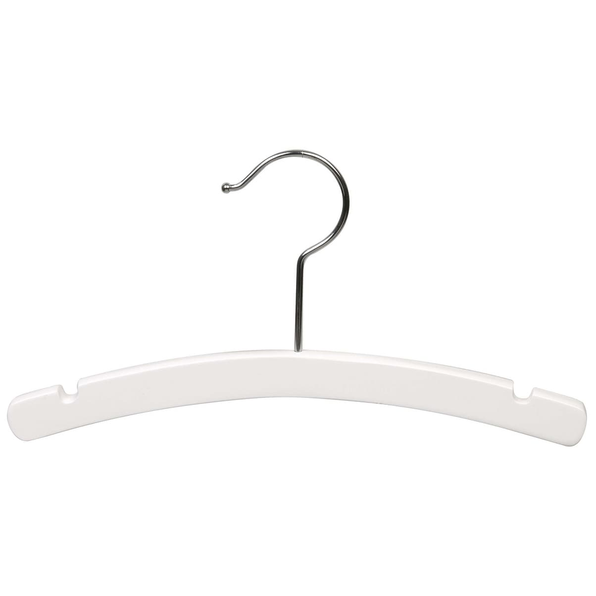 White Arched Wooden Baby Hanger, 10 Inch Wood Top Hangers with Chrome  Swivel Hook for Infant Clothes or Onesie - Free Shipping On Orders Over $45  ...