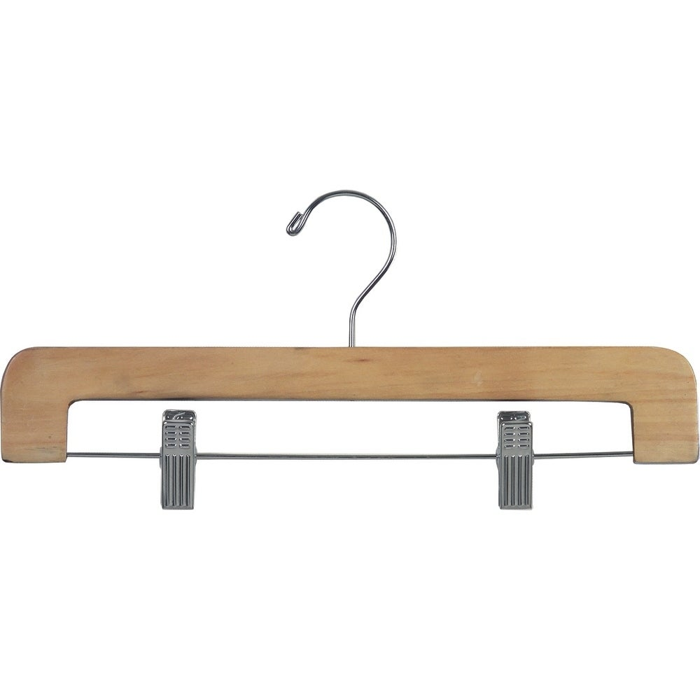 Deluxe Rounded Wooden Pant Hanger With Natural Finish And Adjustable Cushion Clips Flat Bottom Hangers With Chrome Swivel Hook