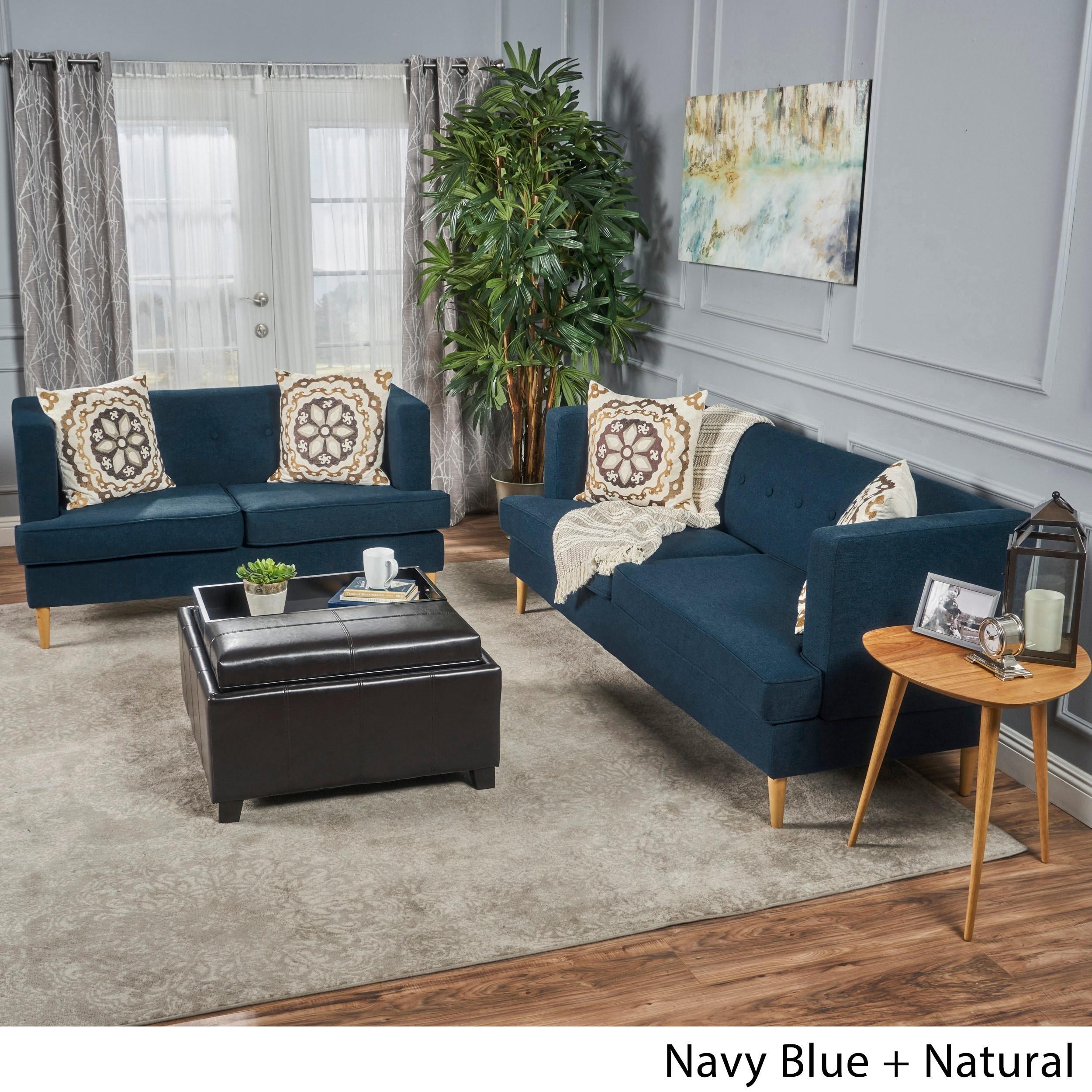 Shop Milton Mid-century Modern 2-piece Fabric Sofa Set by ...