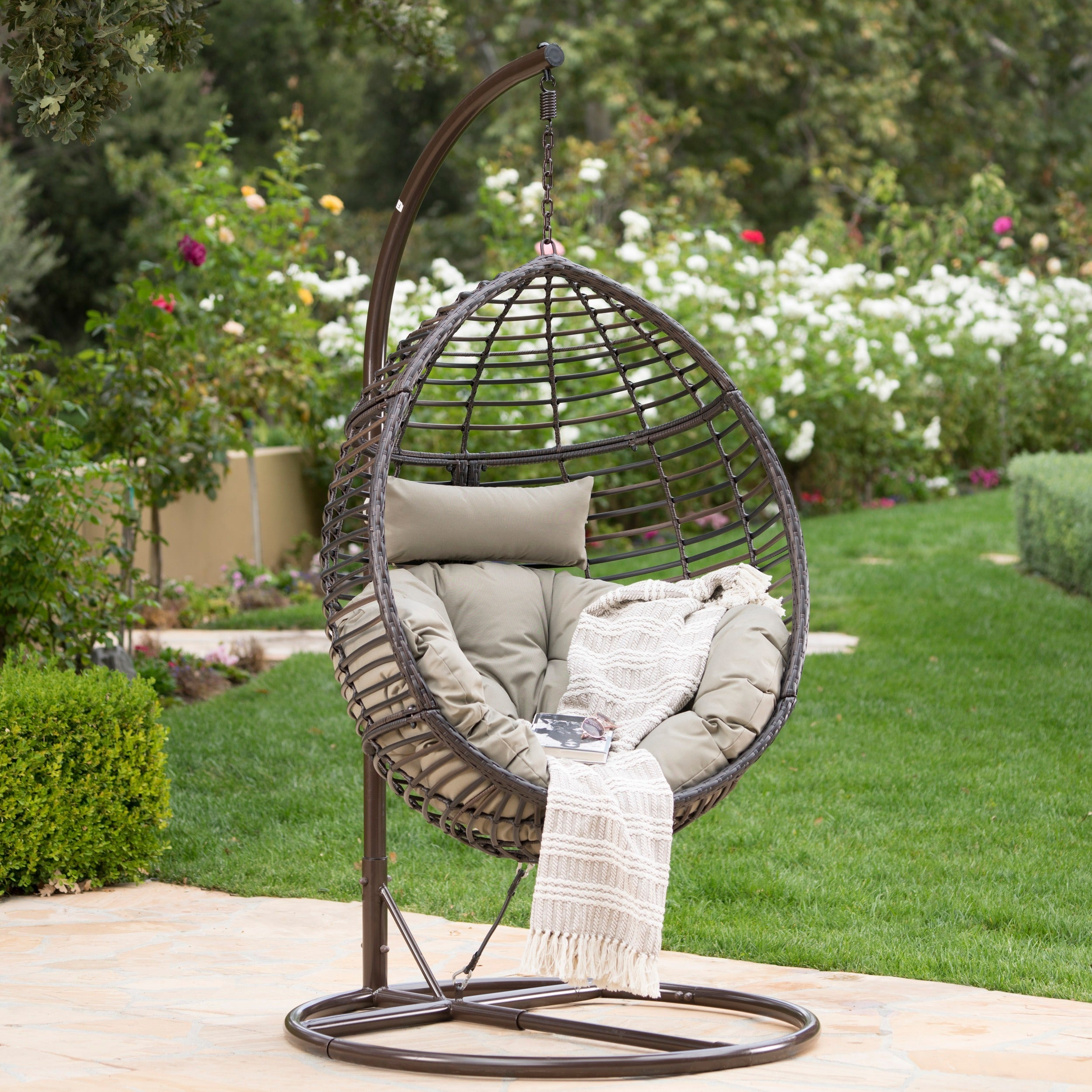 Layla Outdoor Wicker Hanging Basket Chair with Cushions by Christopher  Knight Home - Free Shipping Today - Overstock.com - 24006805