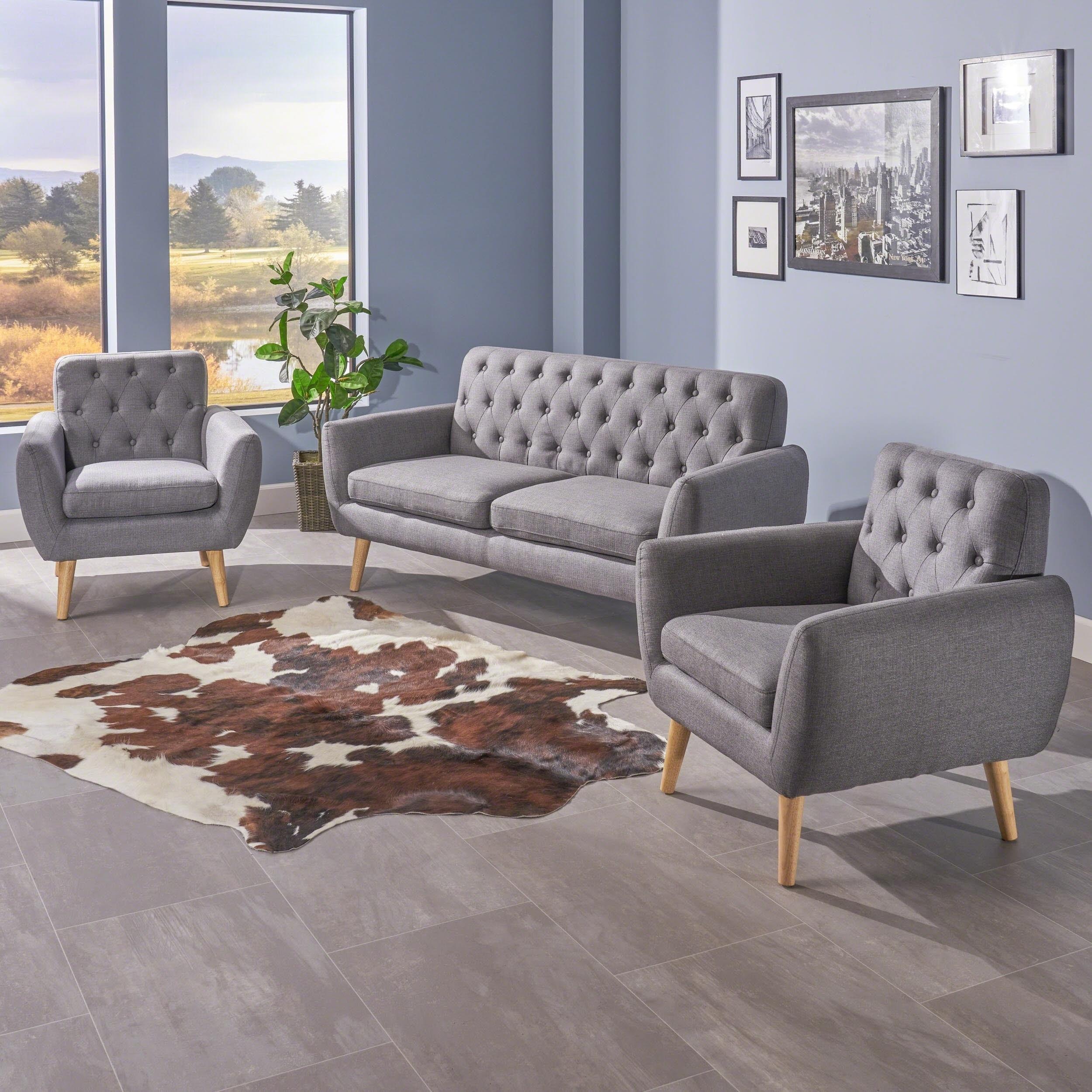 Shop Bernice Mid Century Modern Petite 3-piece Fabric Sofa Set by ...