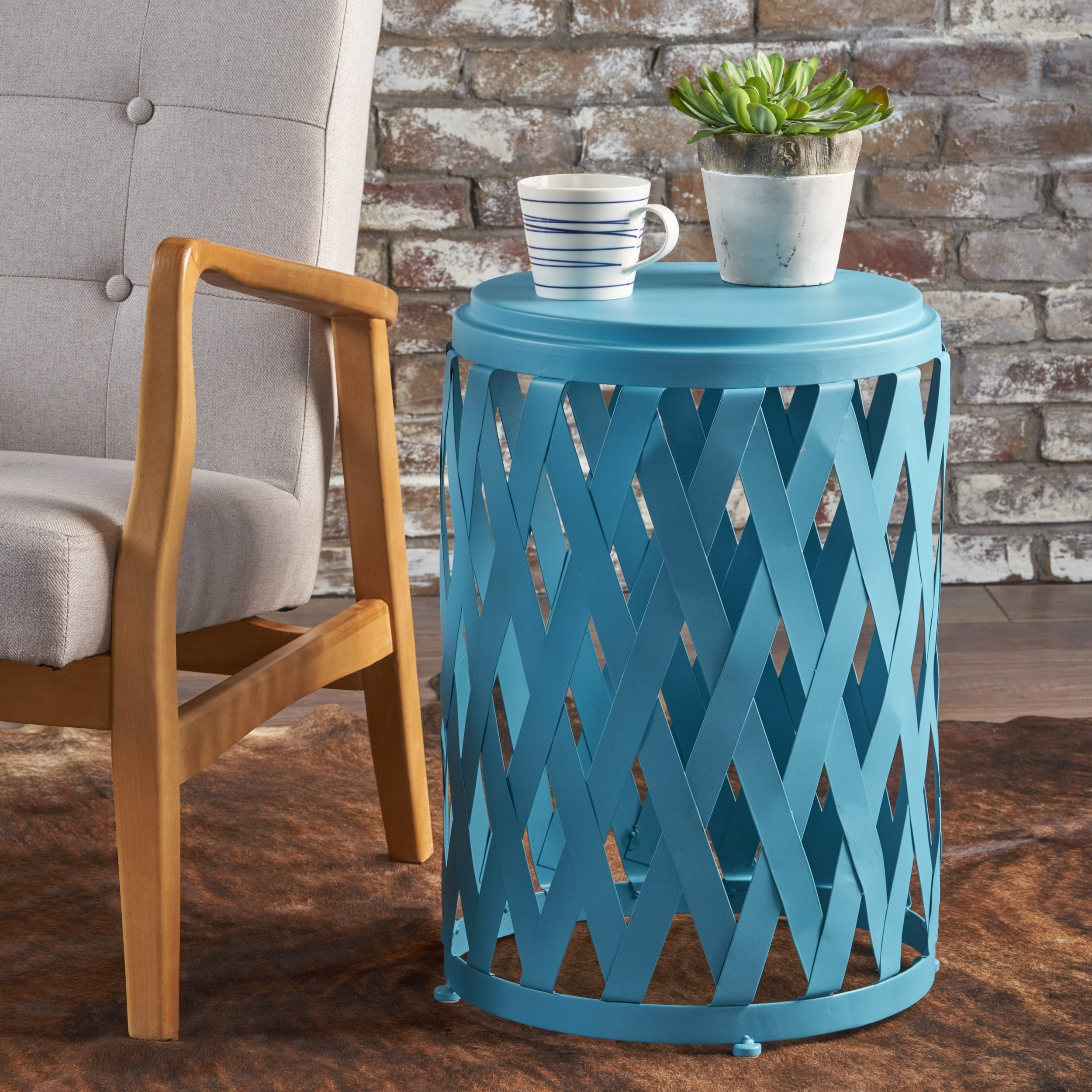 Shop Pecola 14-inch Round Lattice Side Table by Christopher Knight ...