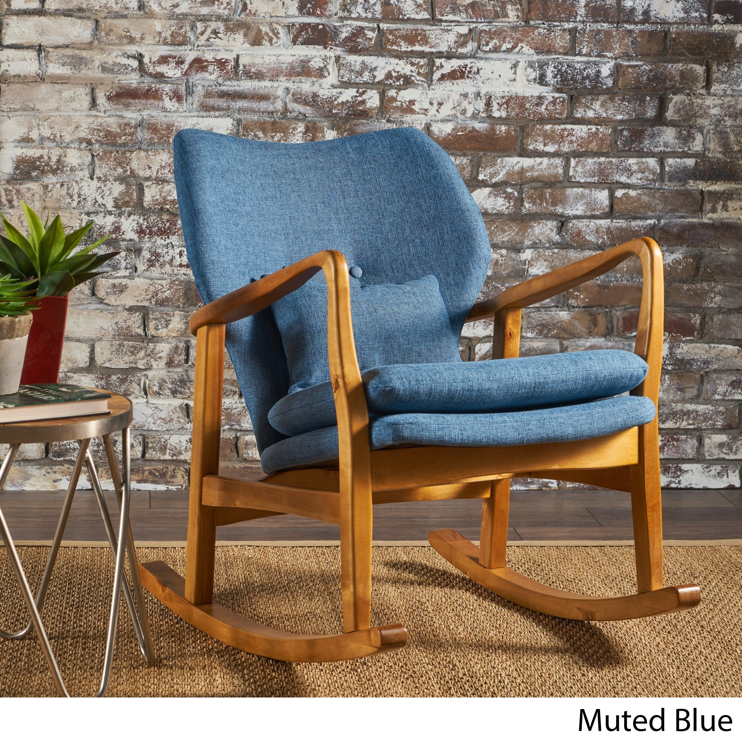 Shop Benny Mid Century Modern Fabric Rocking Chair By Christopher Knight  Home   On Sale   Free Shipping Today   Overstock.com   17814193