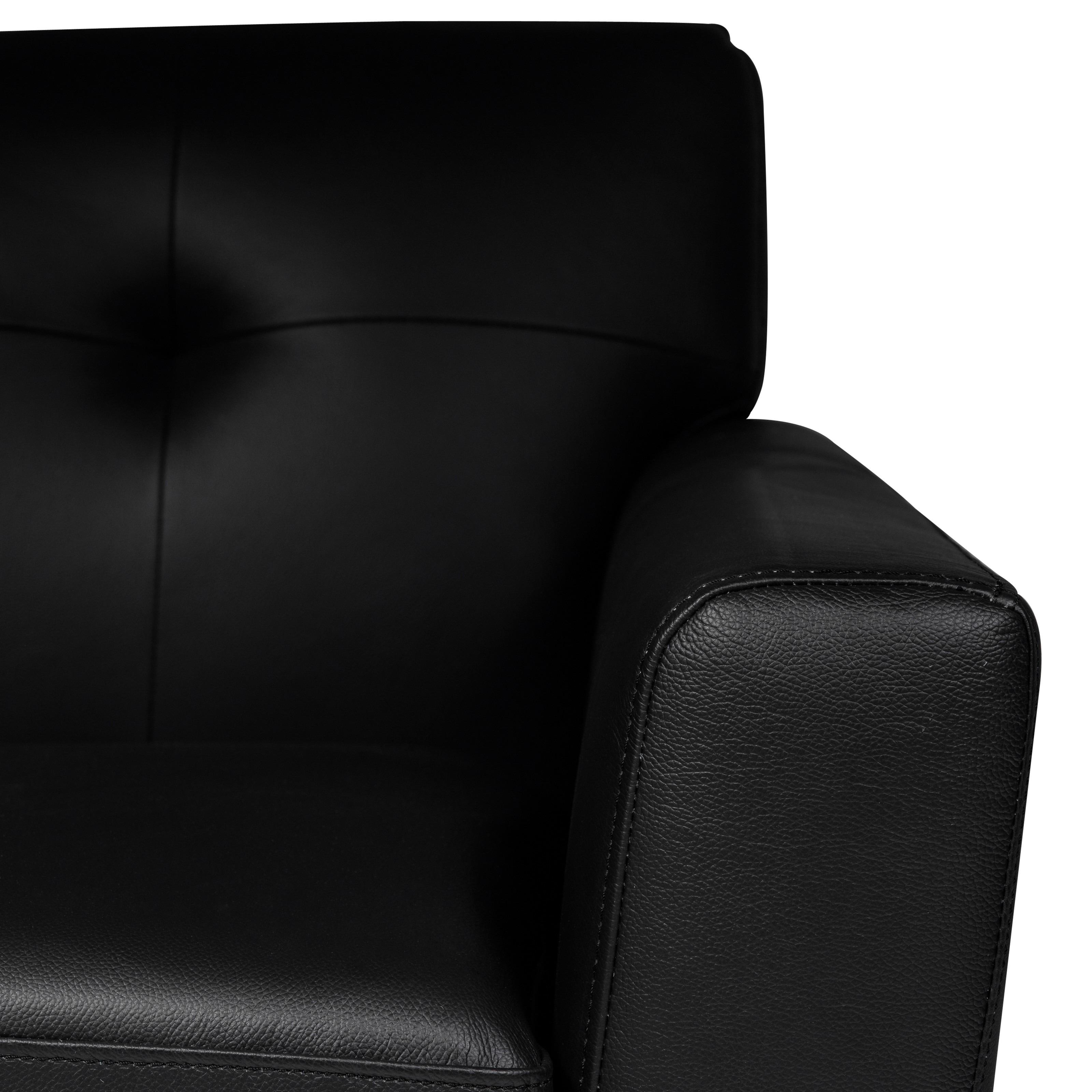 LeisureMod Luray Tufted Sofa with Walnut Oak Base in Black Leather