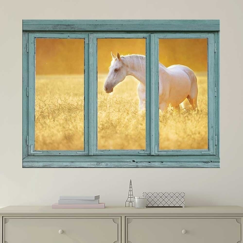 White Horse in a Wheatfield Wall Mural, Removable Sticker, Home ...