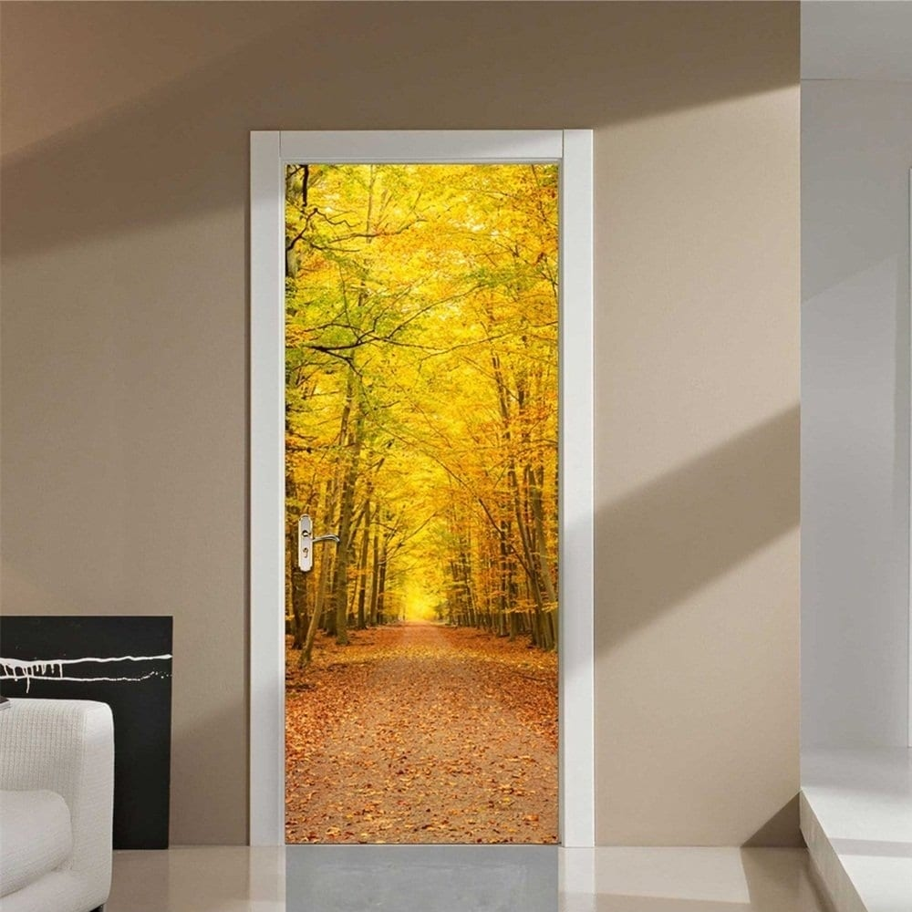 Shop Deciduous Leaves Wall Mural Door Wallpaper Stickers Removable ...