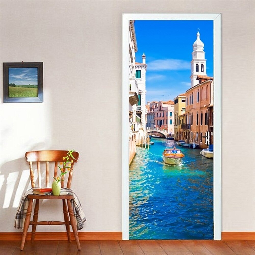 Shop door wall mural wallpaper stickers venice canal vinyl removable 3d decals wall vinyl on sale free shipping today overstock 17815875