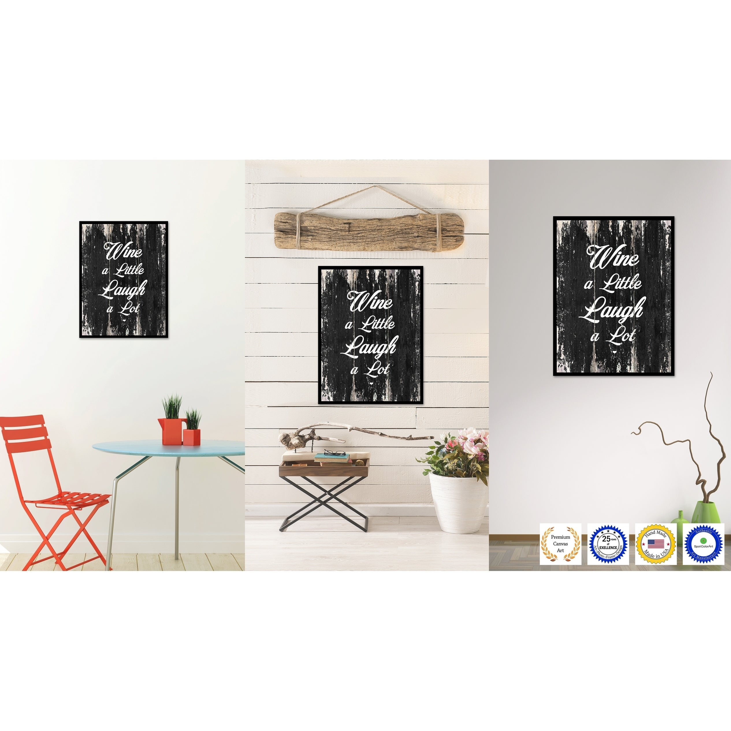 Shop Wine A Little Laugh A Lot Saying Canvas Print Picture Frame ...