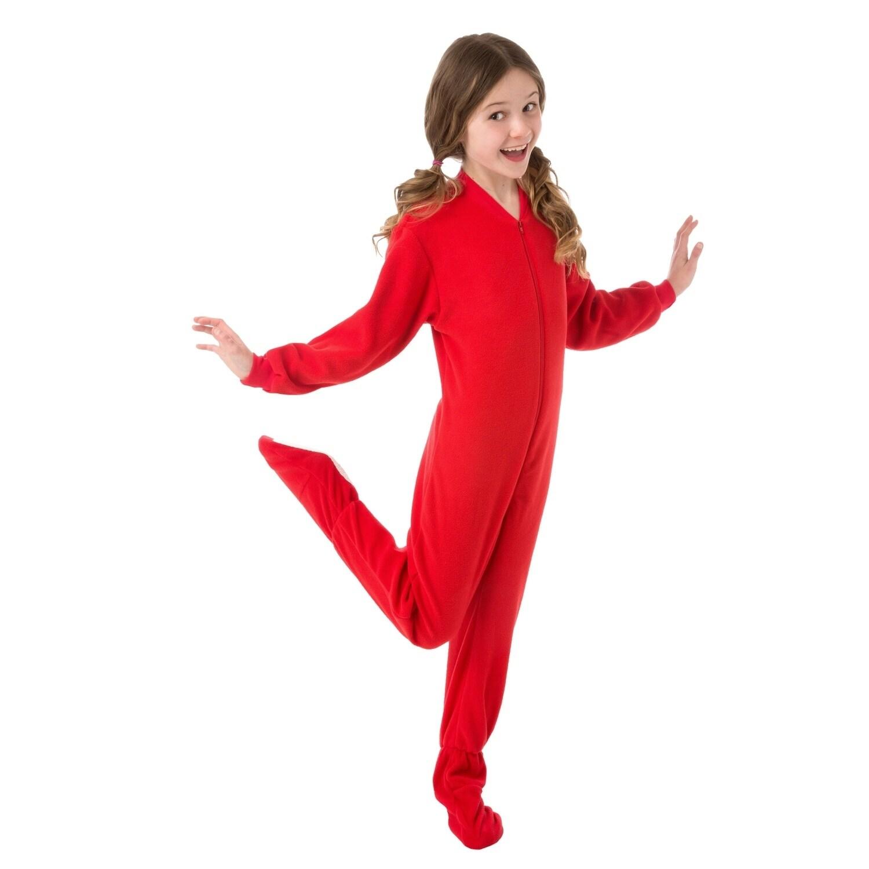 84605908bc44 Shop Big Feet PJs Big Boys Kids Red Fleece Footed Pajamas Sleeper ...