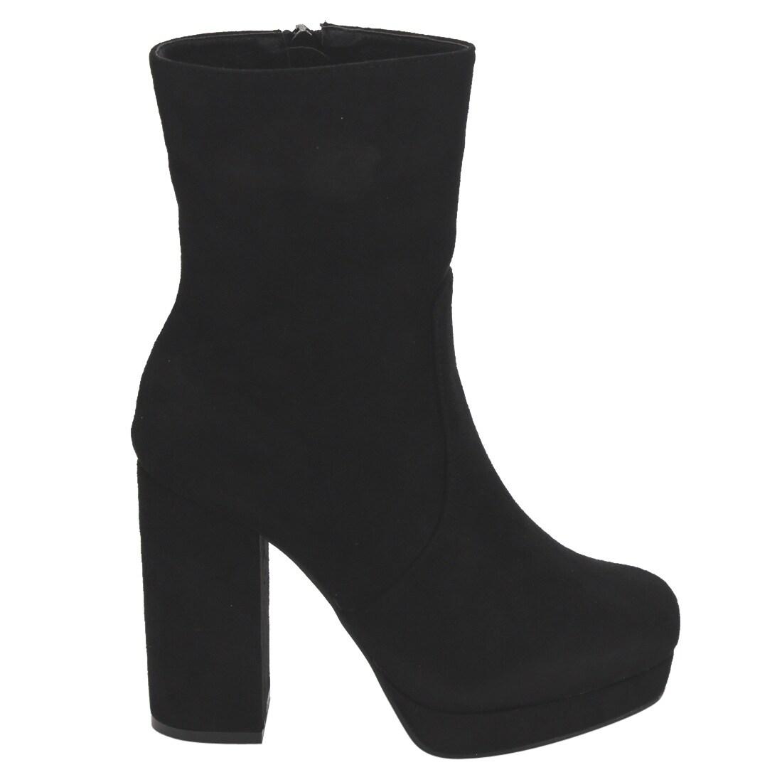 ab6ff72843b Beston EI87 Women's Side Zipper Wrapped Platform Chunky Heel Ankle Vegan  Booties