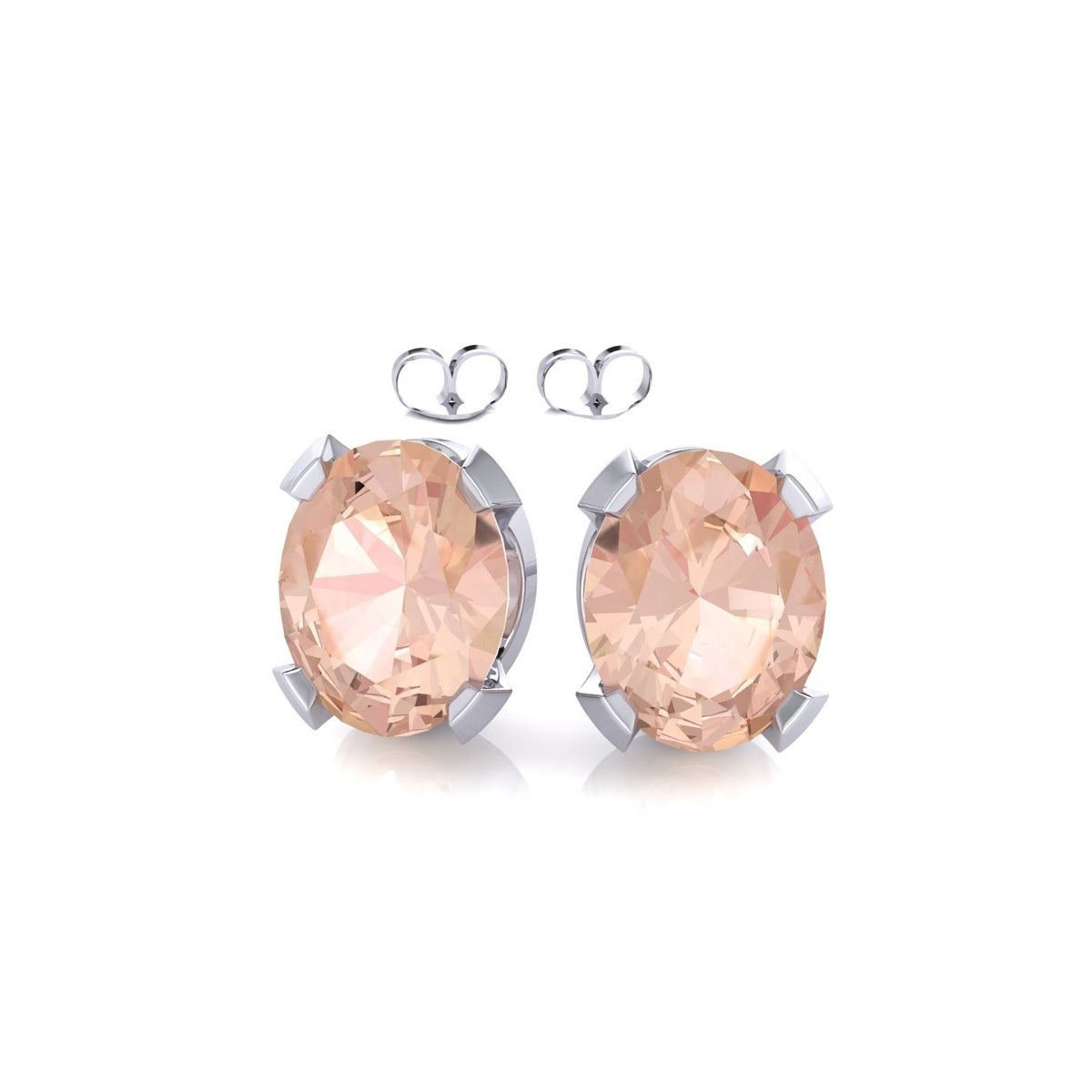 morganite rose stud shaped gold pear set rubover image earrings