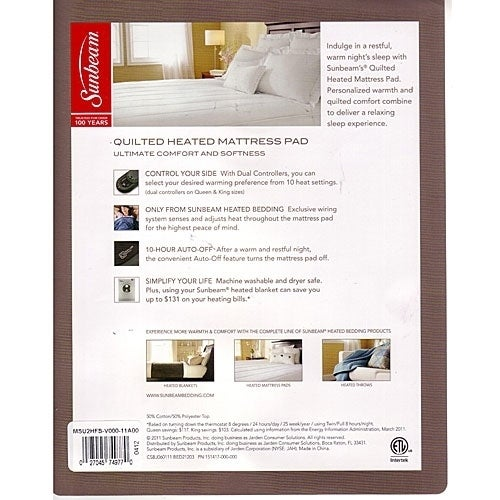 Shop Sunbeam Quilted Heated Electric Mattress Pad Stripe Pattern