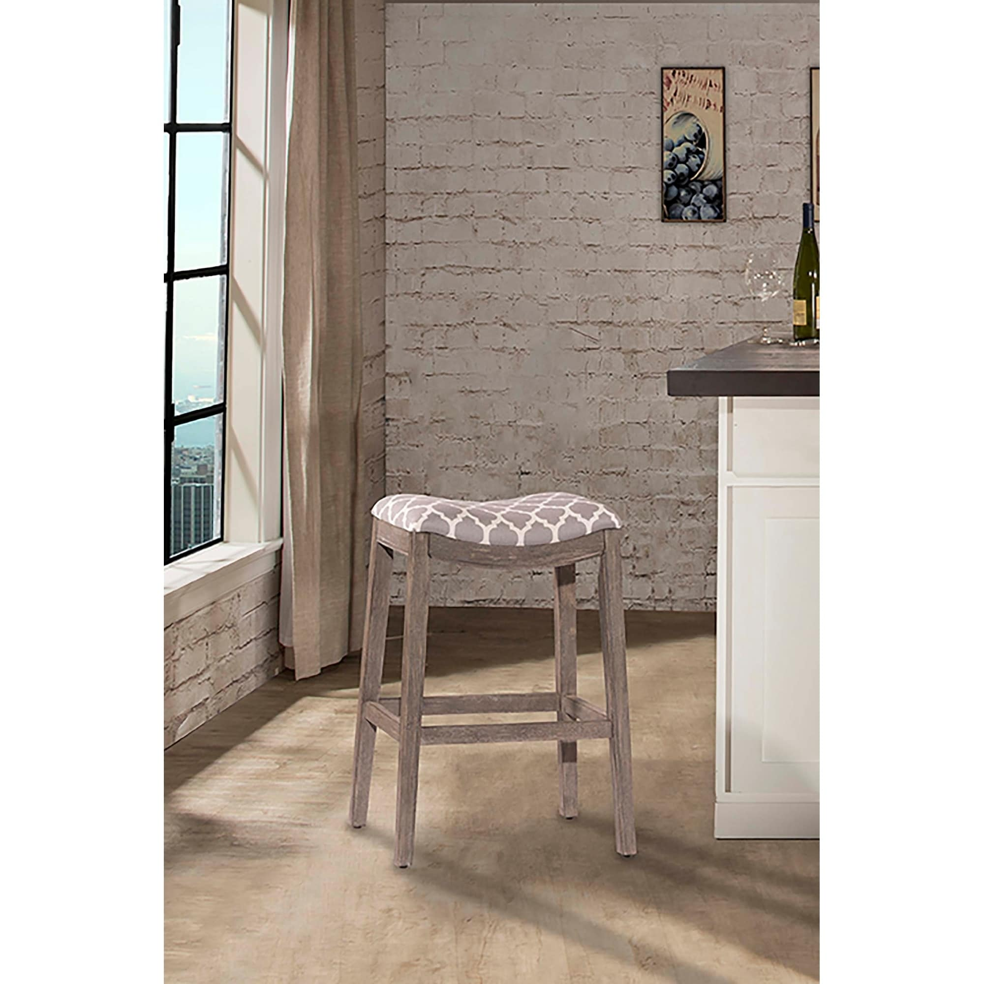 cheap for discount 32275 180bb The Gray Barn Chatterly Non-swivel Grey Bar Stool