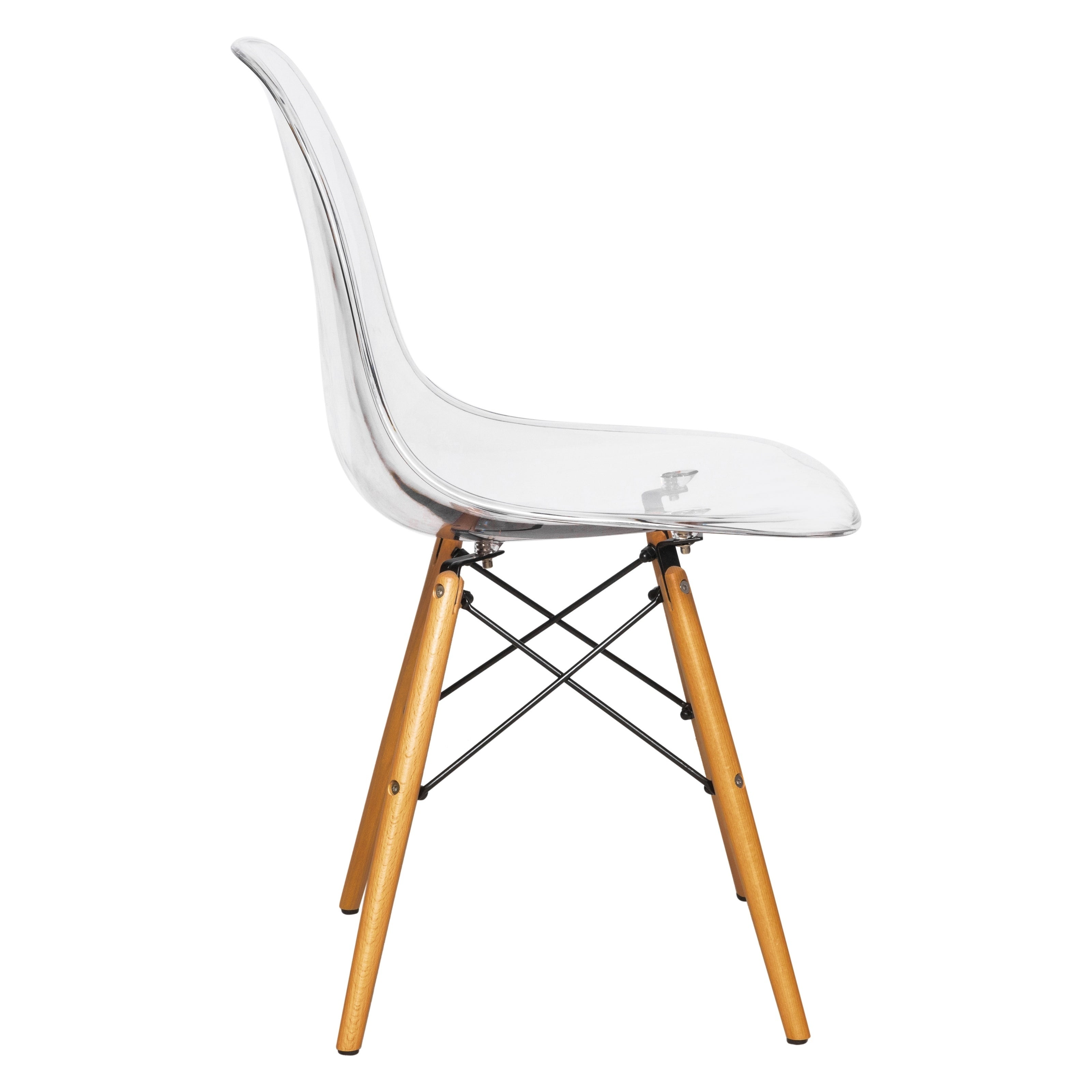 Leisuremod Dover Molded Clear Side Dining Chair Eiffel Wood Legs Free Shipping Today 17834304