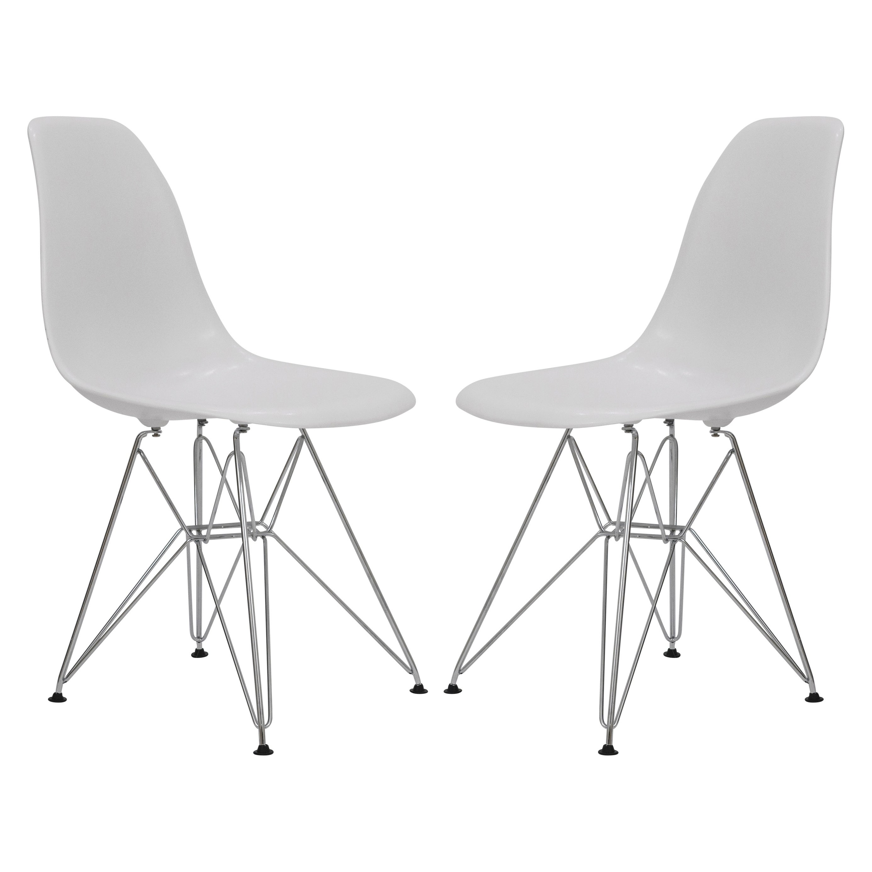 Marvelous Leisuremod Cresco White Eiffel Chrome Base Dining Side Chair Set Of 2 Beatyapartments Chair Design Images Beatyapartmentscom