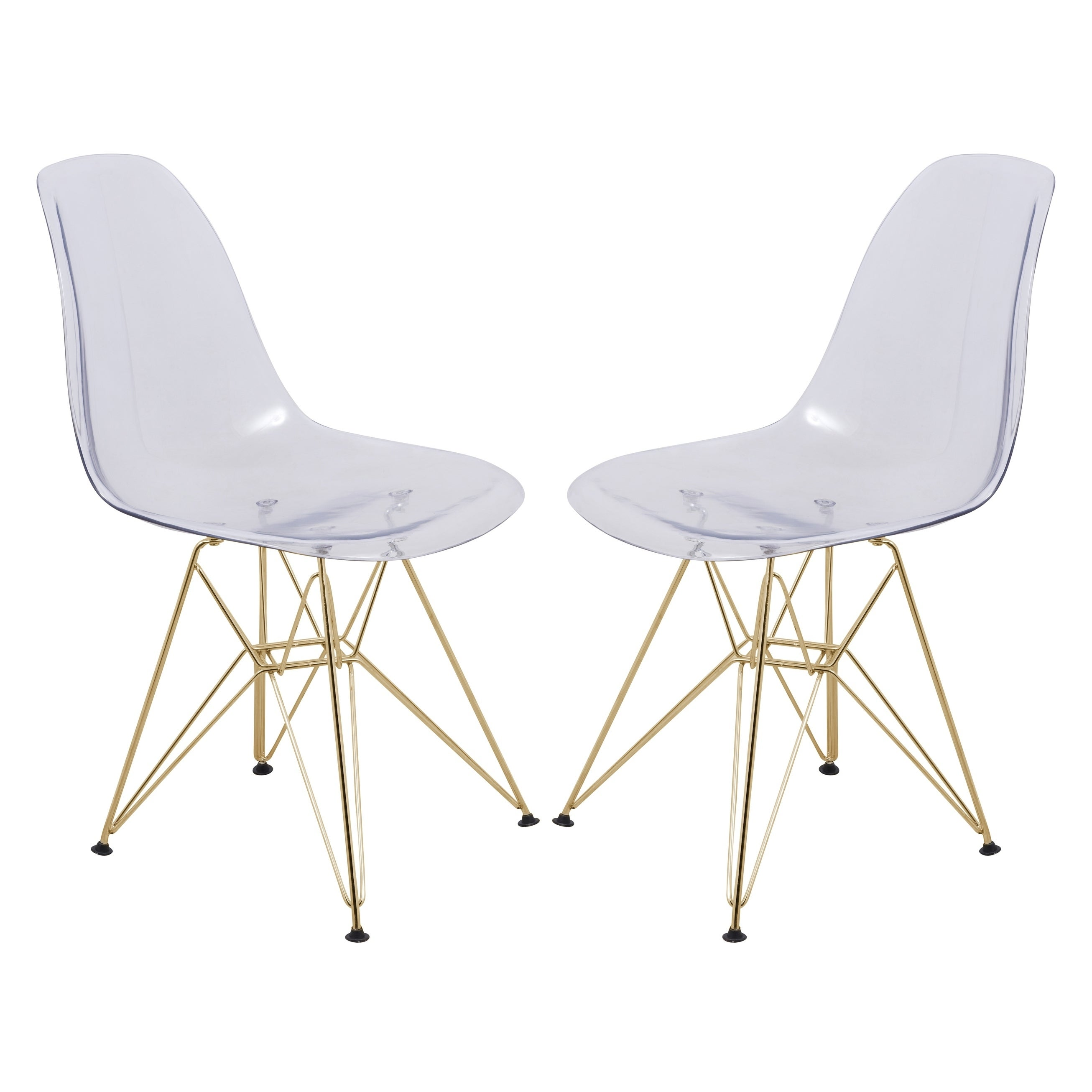 Shop LeisureMod Cresco Molded Eiffel Clear Side Chair With Gold Base (Set  Of 2)   Free Shipping Today   Overstock.com   17834328