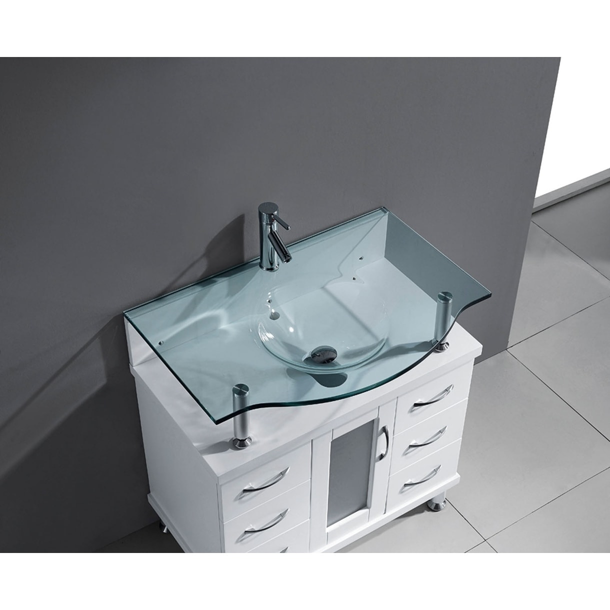 Shop Vincente 32-inch Single Modern Vanity Set with Glass Top ...