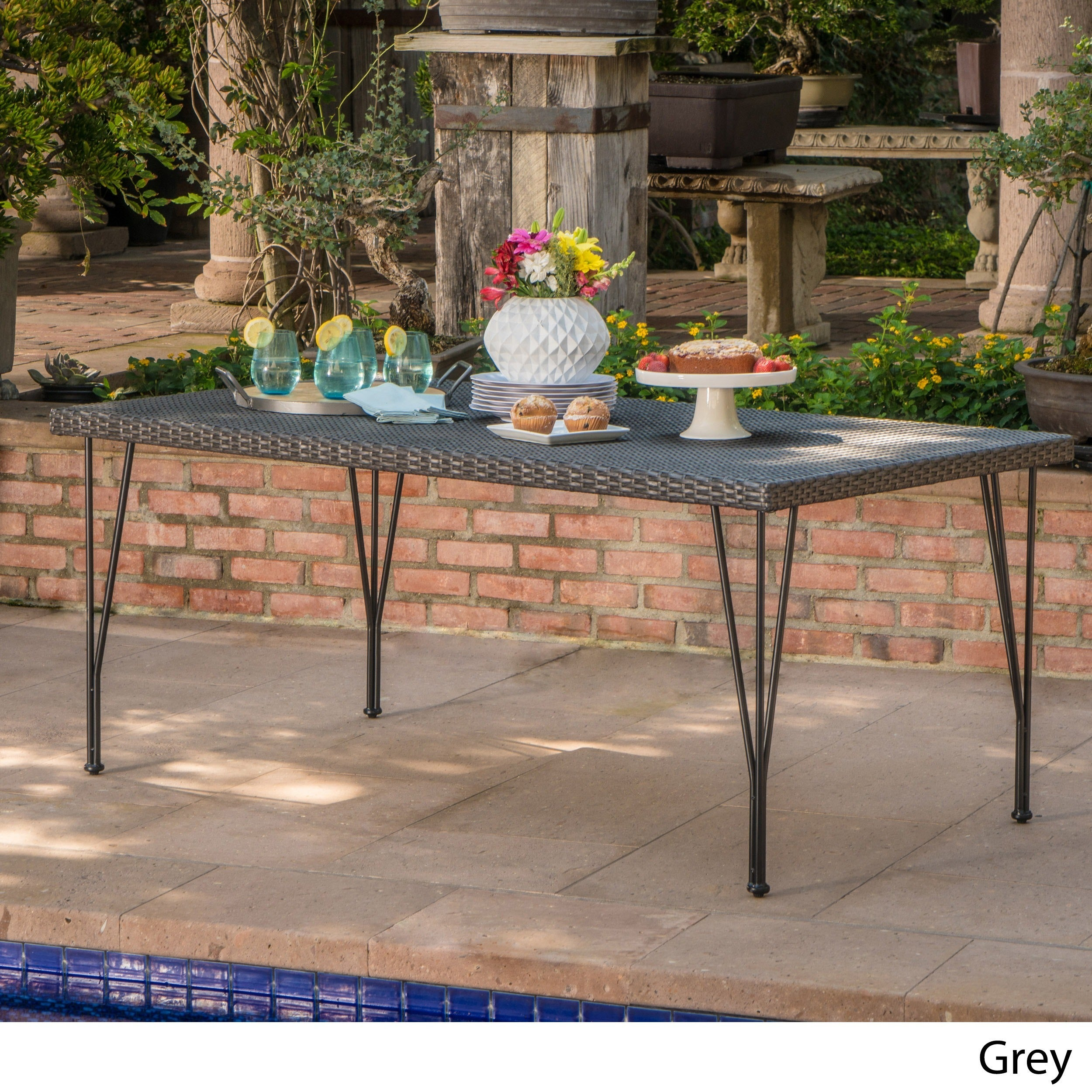 Bedford Outdoor Rectangle Wicker Dining Table by Christopher Knight ...