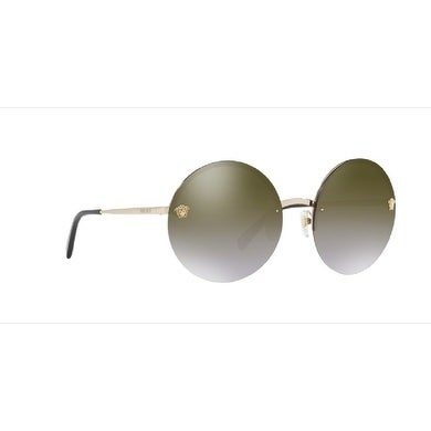 31251a9a688e Shop Versace Women s VE2176 12526U 59 Brown Grad Mirror Gold Metal Round  Sunglasses - Free Shipping Today - Overstock - 17850937