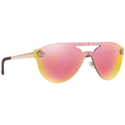 c512c9a1444f Shop Versace Women s VE2161 10524Z 42 Grey Mirror Yellow Rose Metal Aviator  Sunglasses - Gold - Free Shipping Today - Overstock - 17851031
