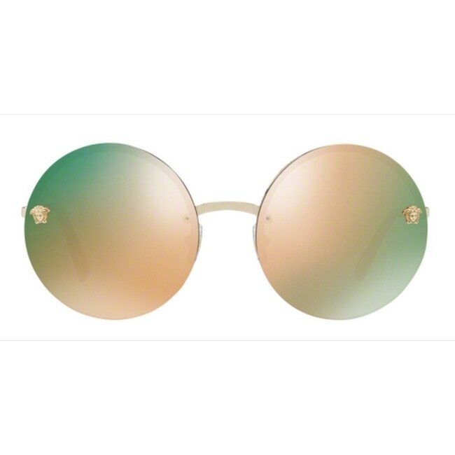 749f0d37998c Shop Versace Women s VE2176 12524Z 59 Grey Mirror Rose Gold Metal Round  Sunglasses - Free Shipping Today - Overstock - 17851069