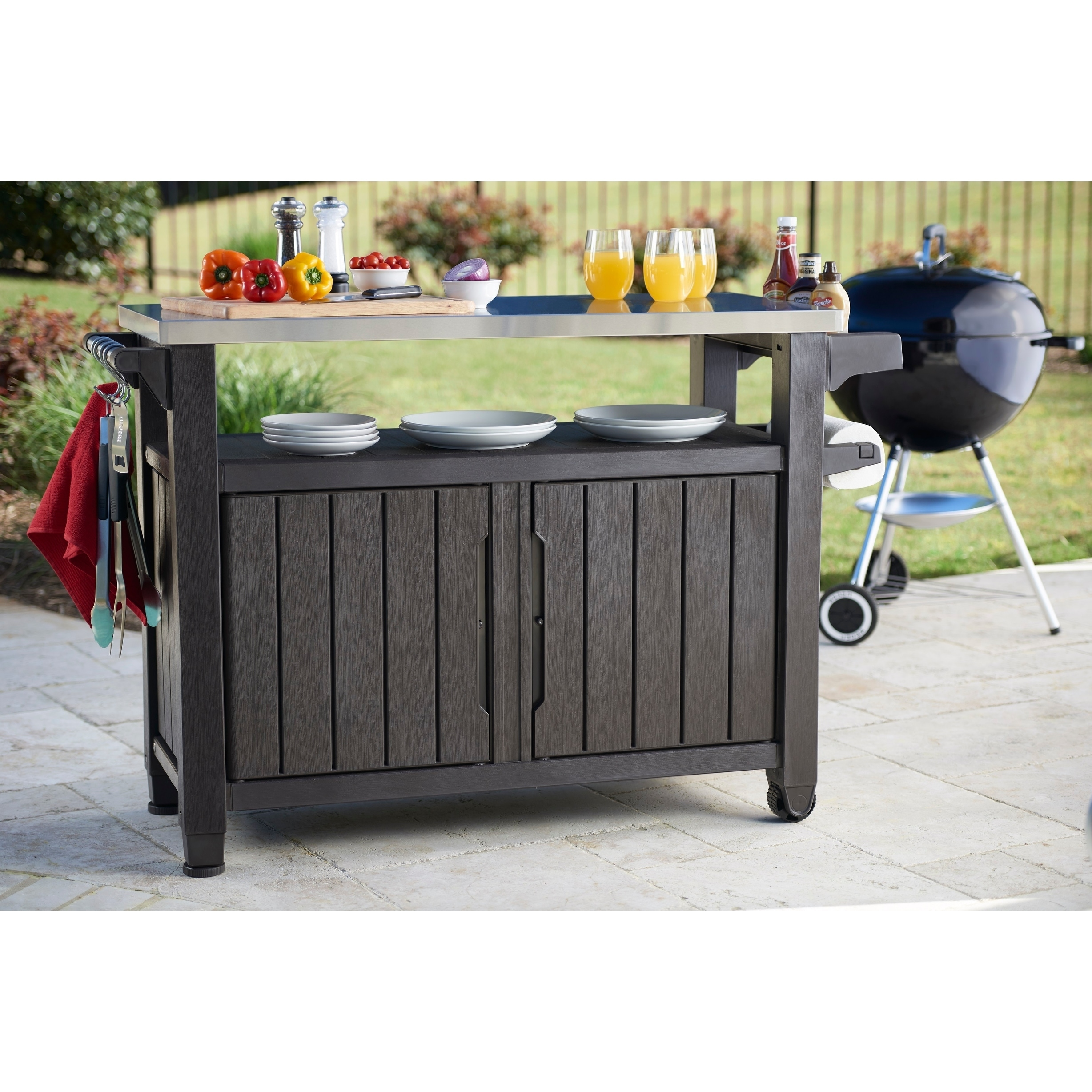Elegant Keter Unity XL Indoor Outdoor Serving Cart Prep Station With Storage   Free  Shipping Today   Overstock.com   24041979