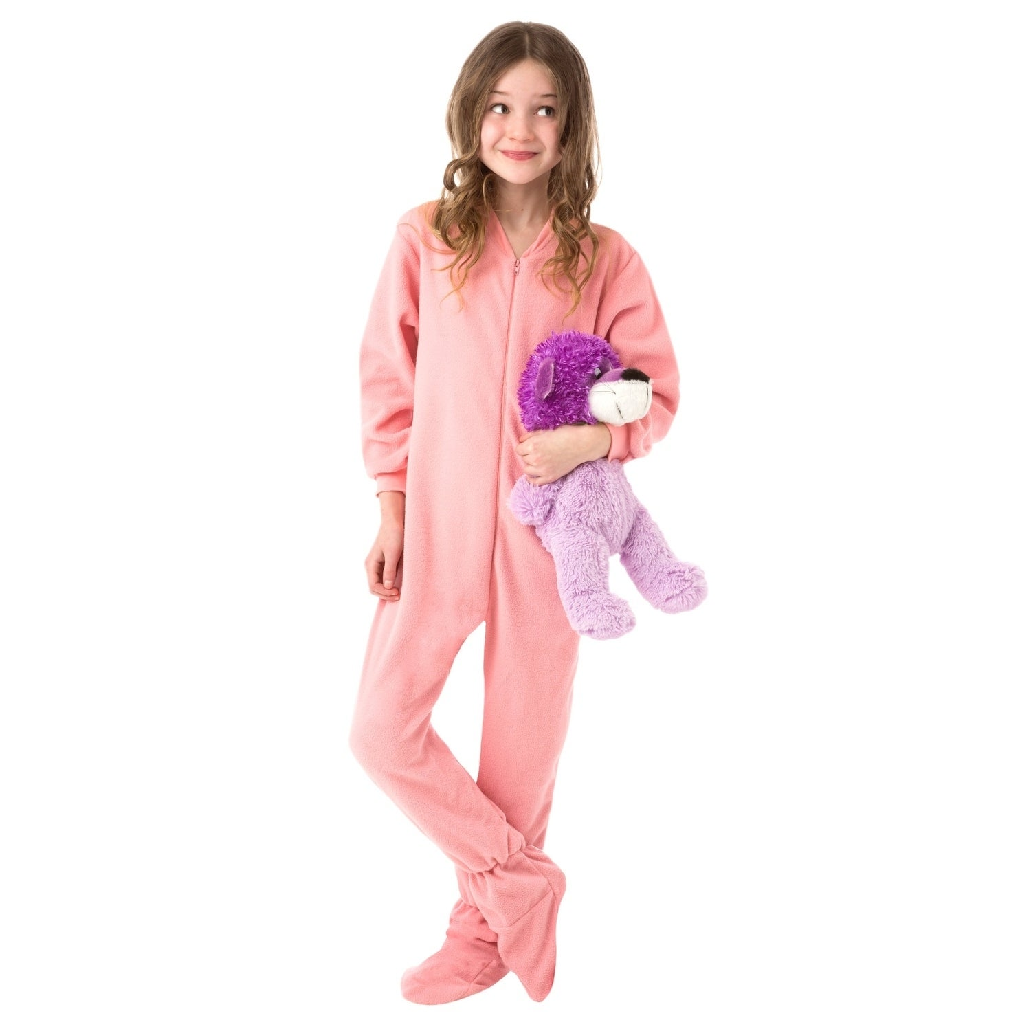 e8b5dc71c968 Big Feet Pjs Big Girls Kids Pink Fleece Footed Pajamas One Piece Sleeper  Footie Pajamas