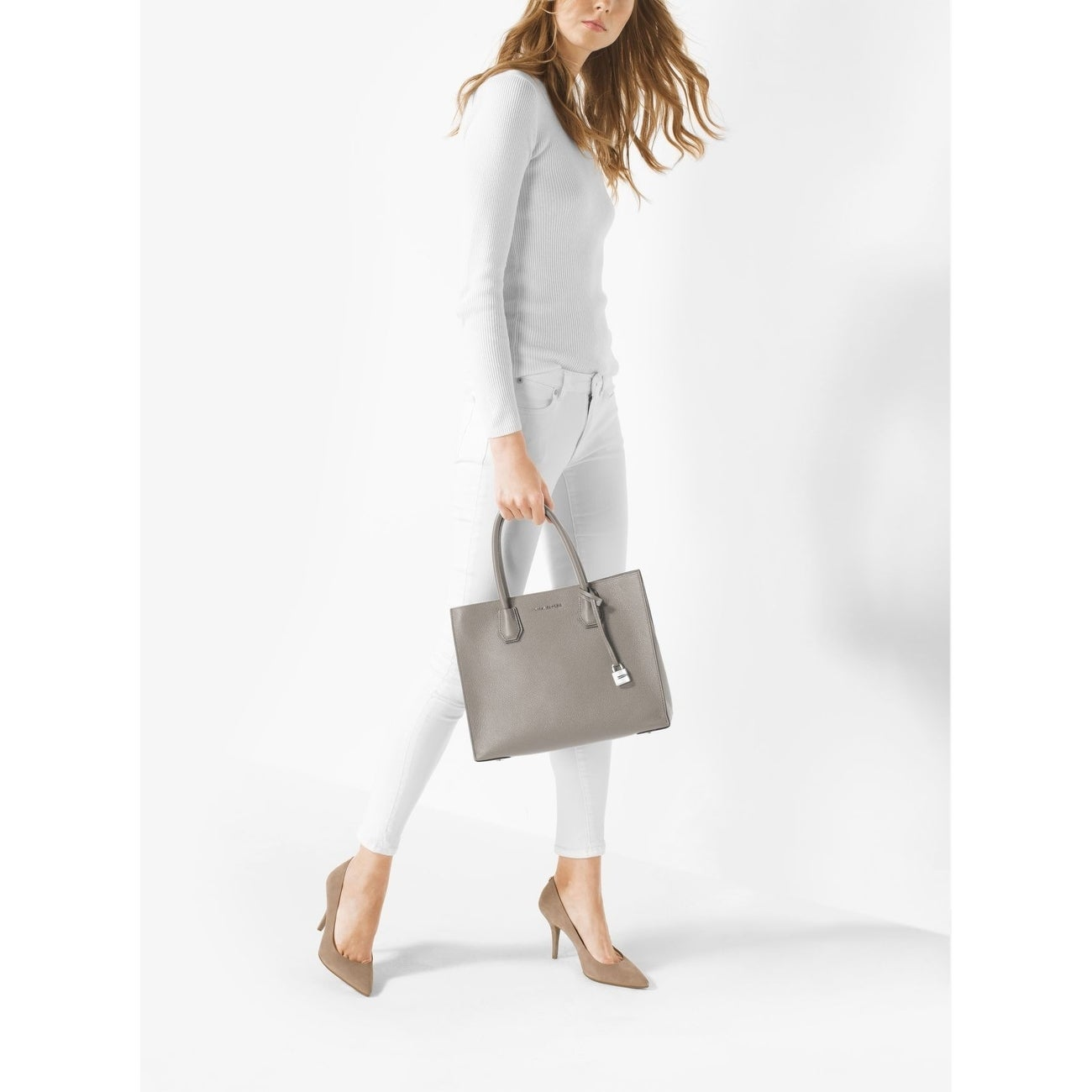 1c30e6fe0a42d5 Shop MICHAEL Michael Kors Mercer Lg Conv Tote pearl grey - Free Shipping  Today - Overstock - 17874989