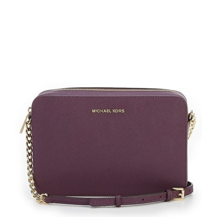 8e857b9baedb Shop Michael Kors Jet Set Large Saffiano Leather Crossbody - Damson ...
