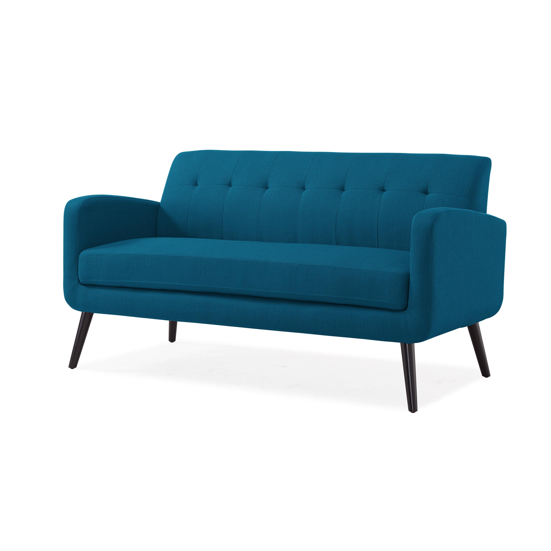 Handy Living Kingston Mid Century Modern Pea Blue Linen Sofa On Free Shipping Today 17878815