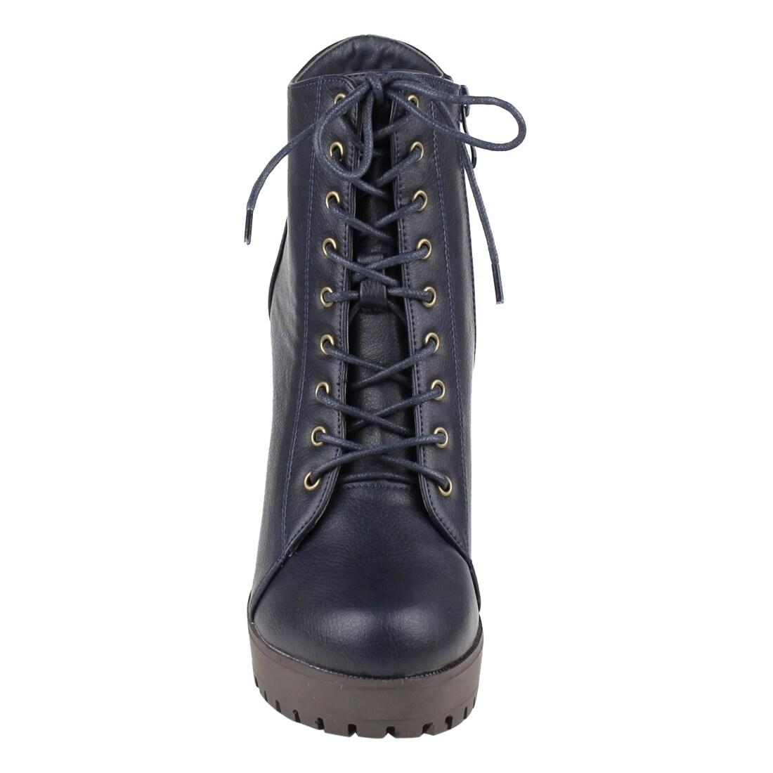 d38f0f822de1 Shop Beston FM39 Women s Platform Lug Sole Stacked Chunky Heel Combat  Booties - Free Shipping On Orders Over  45 - Overstock - 17894279