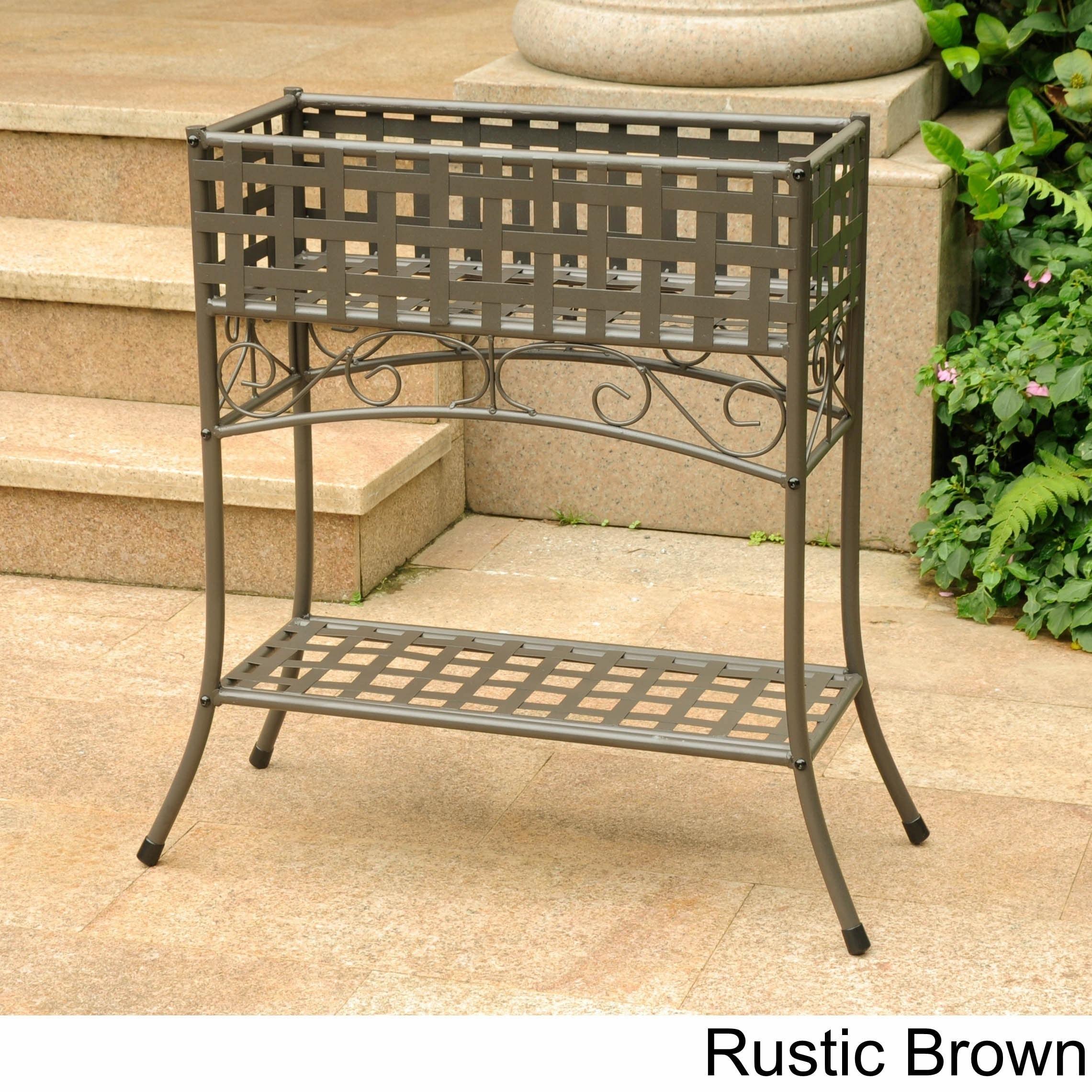 Shop international caravan rustic iron rectangular plant stand free shipping today overstock com 1789932