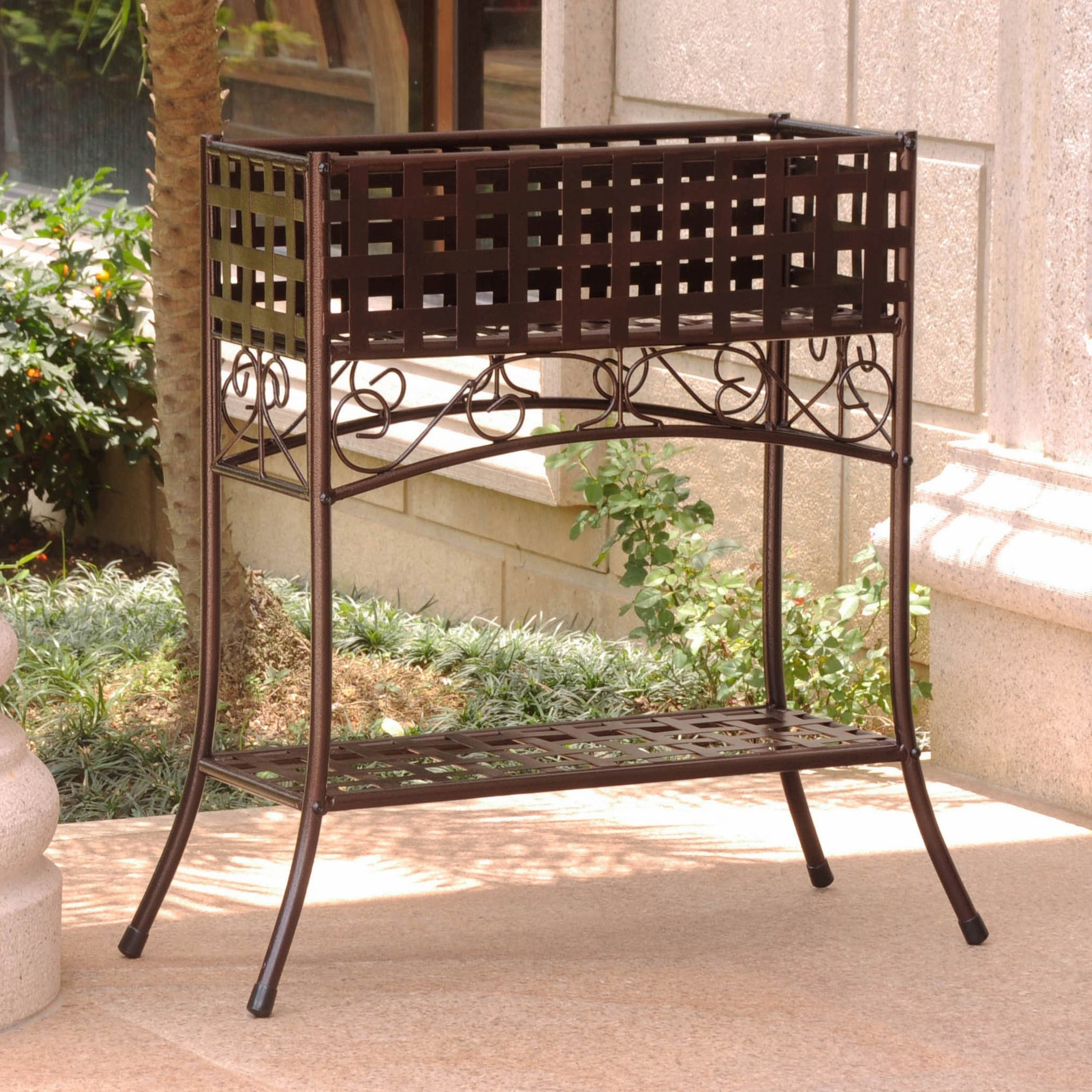 International Caravan Rustic Iron Rectangular Plant Stand On Free Shipping Today 1789932