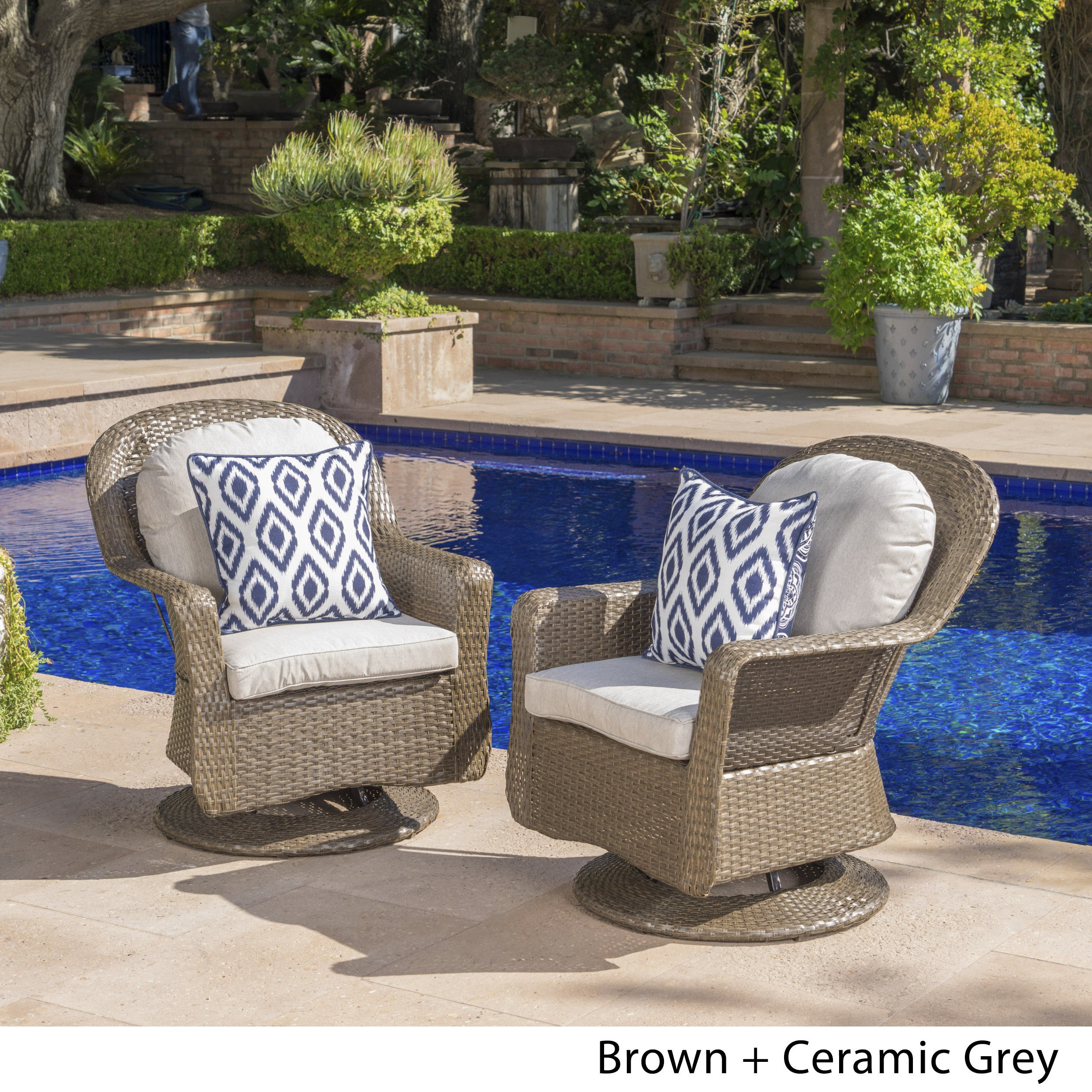 shop liam outdoor wicker swivel club chair with cushion set of 2