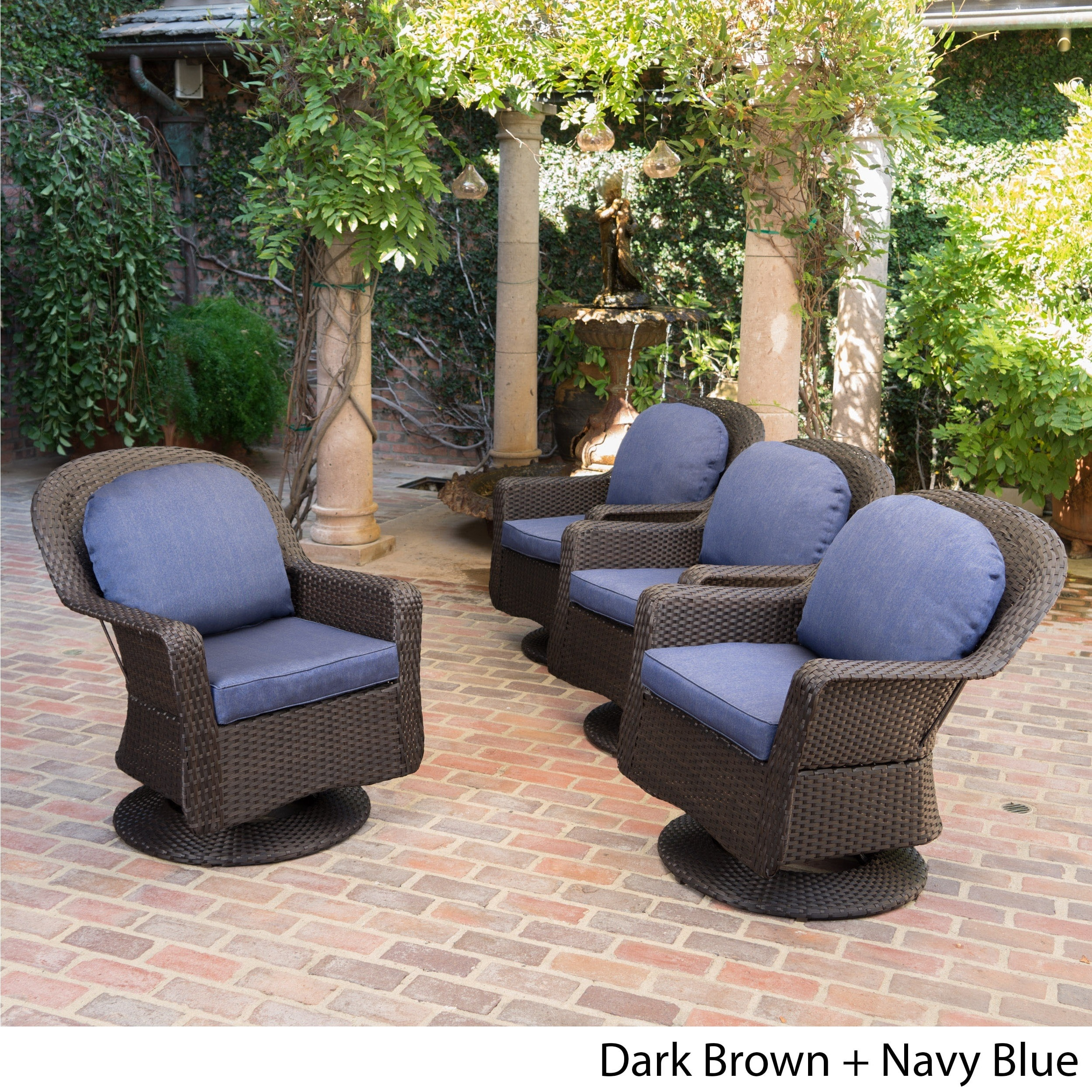 Liam Outdoor Wicker Swivel Club Chair with Cushion Set of 4 by